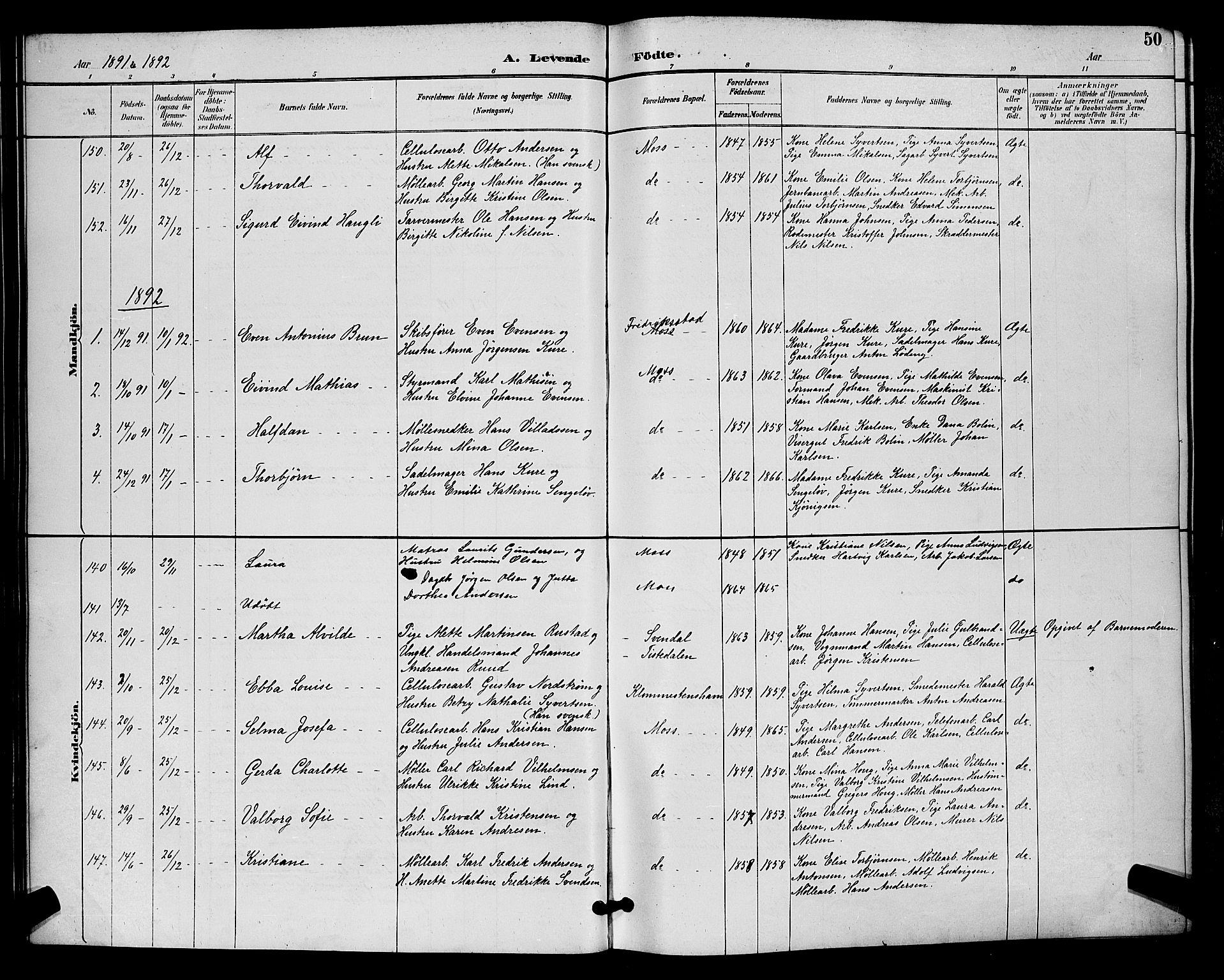 SAO, Moss prestekontor Kirkebøker, G/Ga/L0006: Klokkerbok nr. I 6, 1889-1900, s. 50