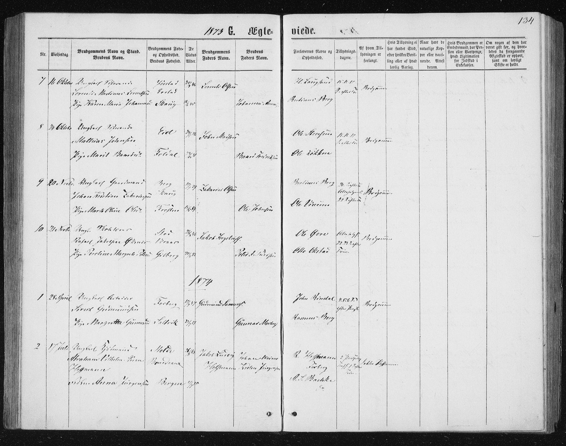 SAT, Ministerialprotokoller, klokkerbøker og fødselsregistre - Nord-Trøndelag, 722/L0219: Ministerialbok nr. 722A06, 1868-1880, s. 134
