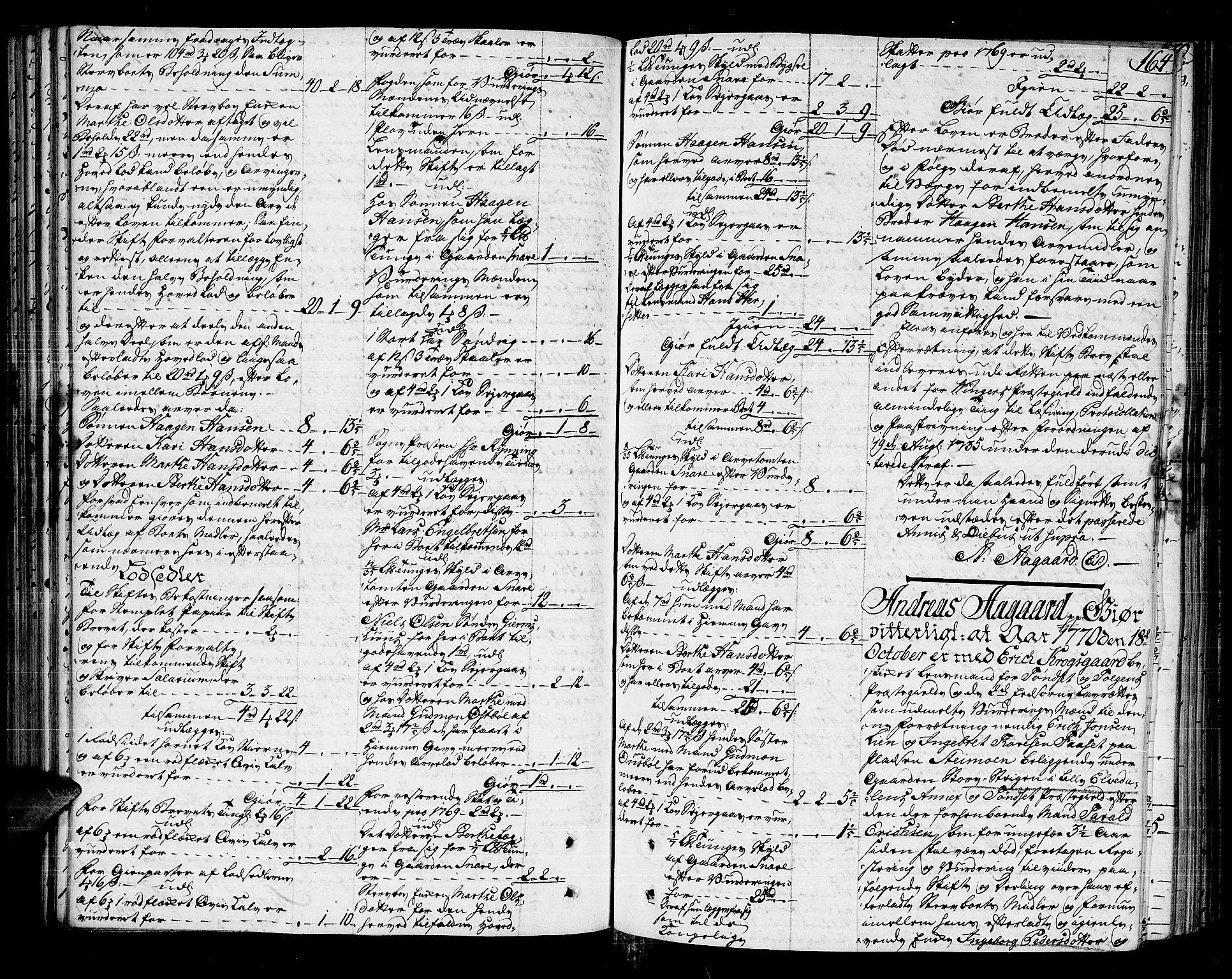 SAH, Solør og Odalen sorenskriveri, J/Ja/L0001: Skifteprotokoll - Vinger, Grue, Hof, 1772-1774, s. 163b-164a