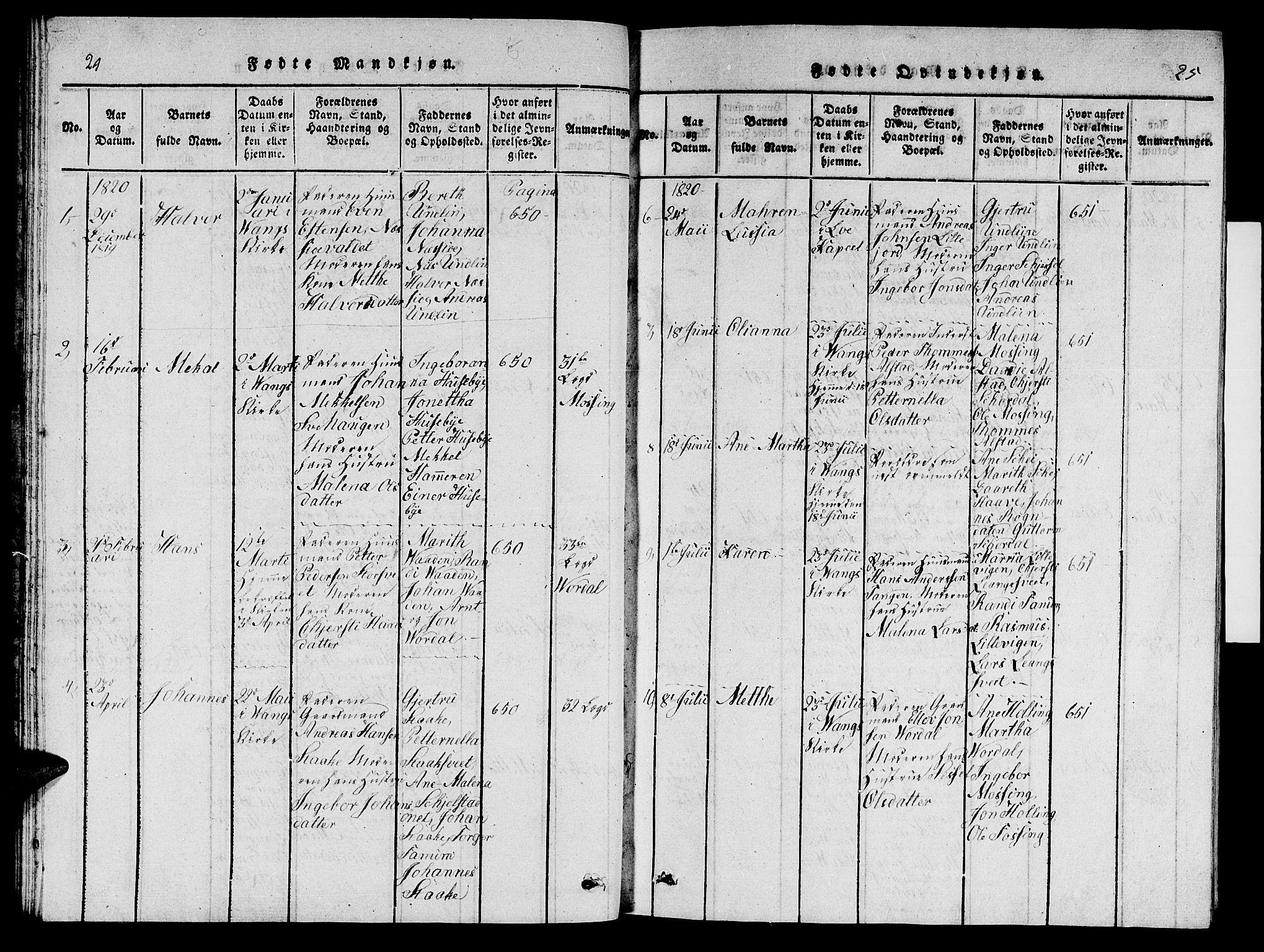 SAT, Ministerialprotokoller, klokkerbøker og fødselsregistre - Nord-Trøndelag, 714/L0132: Klokkerbok nr. 714C01, 1817-1824, s. 24-25