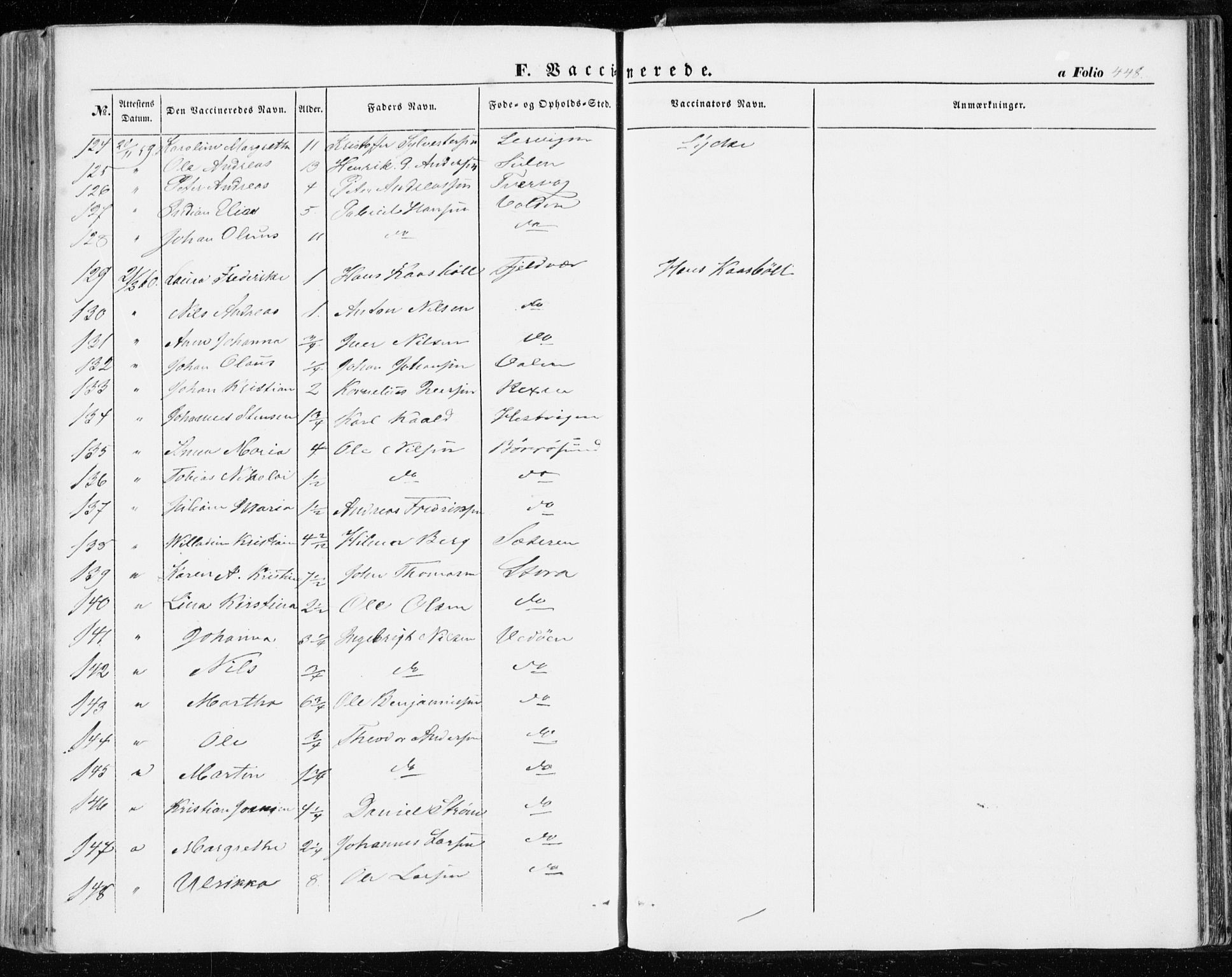 SAT, Ministerialprotokoller, klokkerbøker og fødselsregistre - Sør-Trøndelag, 634/L0530: Ministerialbok nr. 634A06, 1852-1860, s. 448