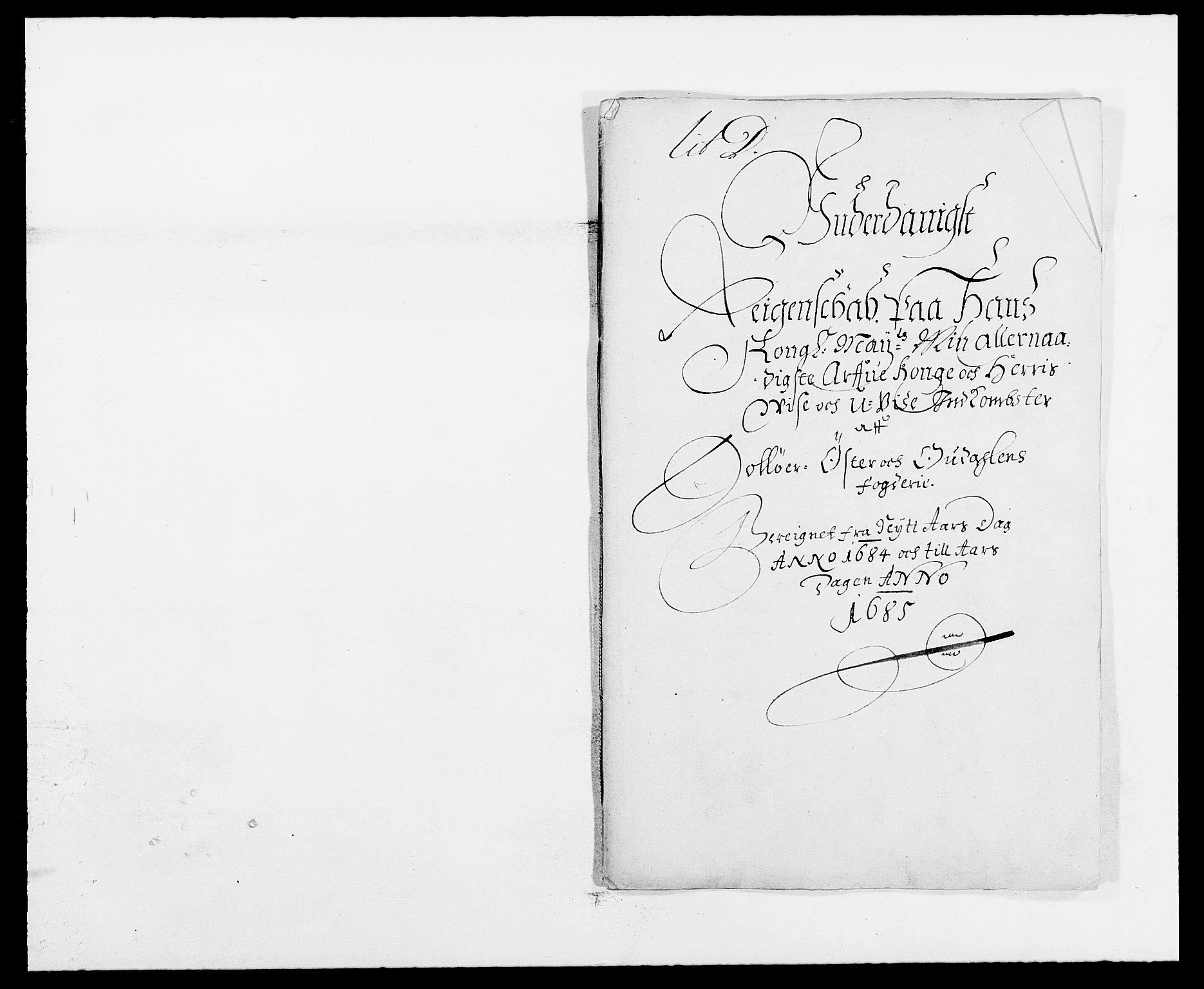 RA, Rentekammeret inntil 1814, Reviderte regnskaper, Fogderegnskap, R13/L0821: Fogderegnskap Solør, Odal og Østerdal, 1684, s. 2