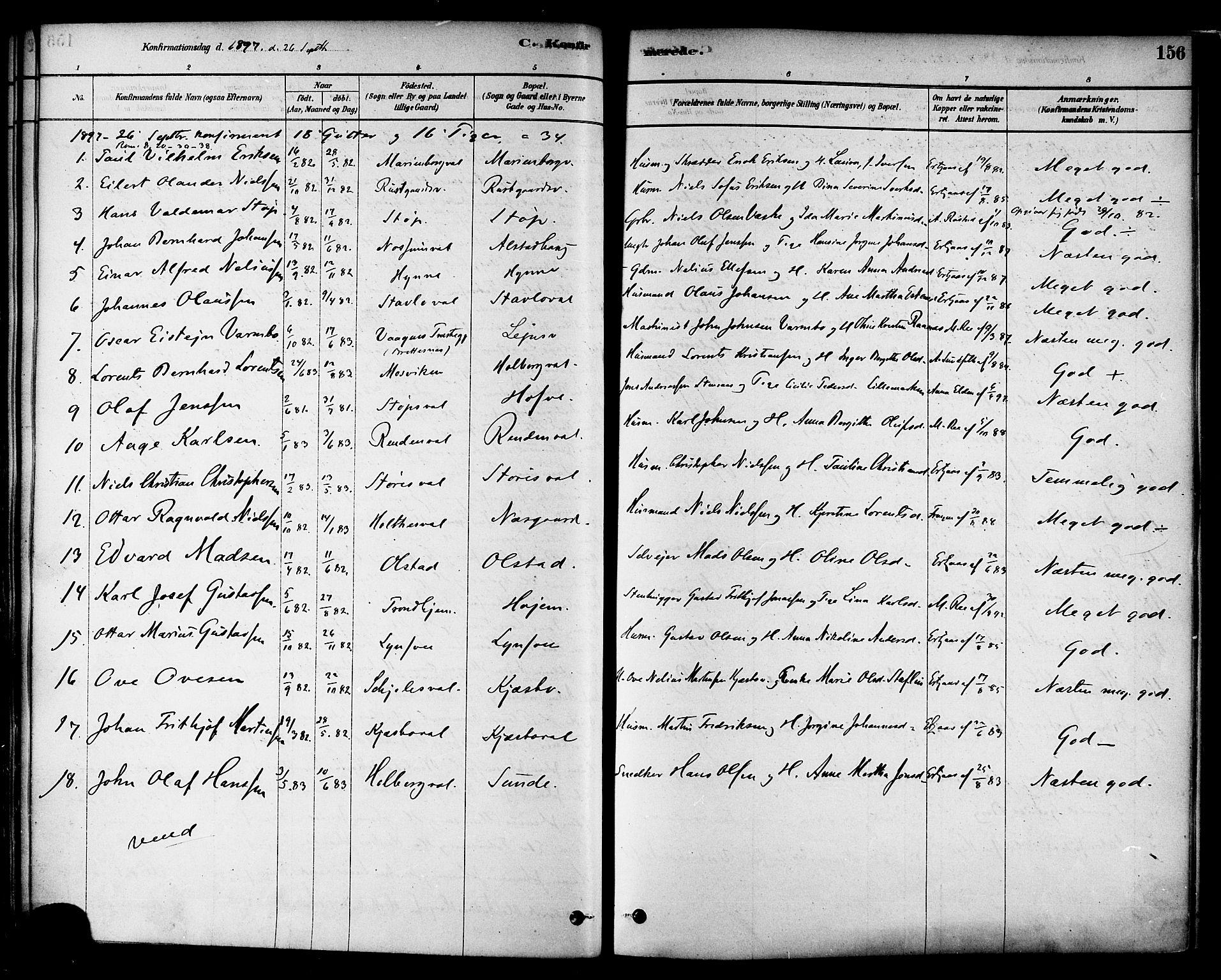 SAT, Ministerialprotokoller, klokkerbøker og fødselsregistre - Nord-Trøndelag, 717/L0159: Ministerialbok nr. 717A09, 1878-1898, s. 156