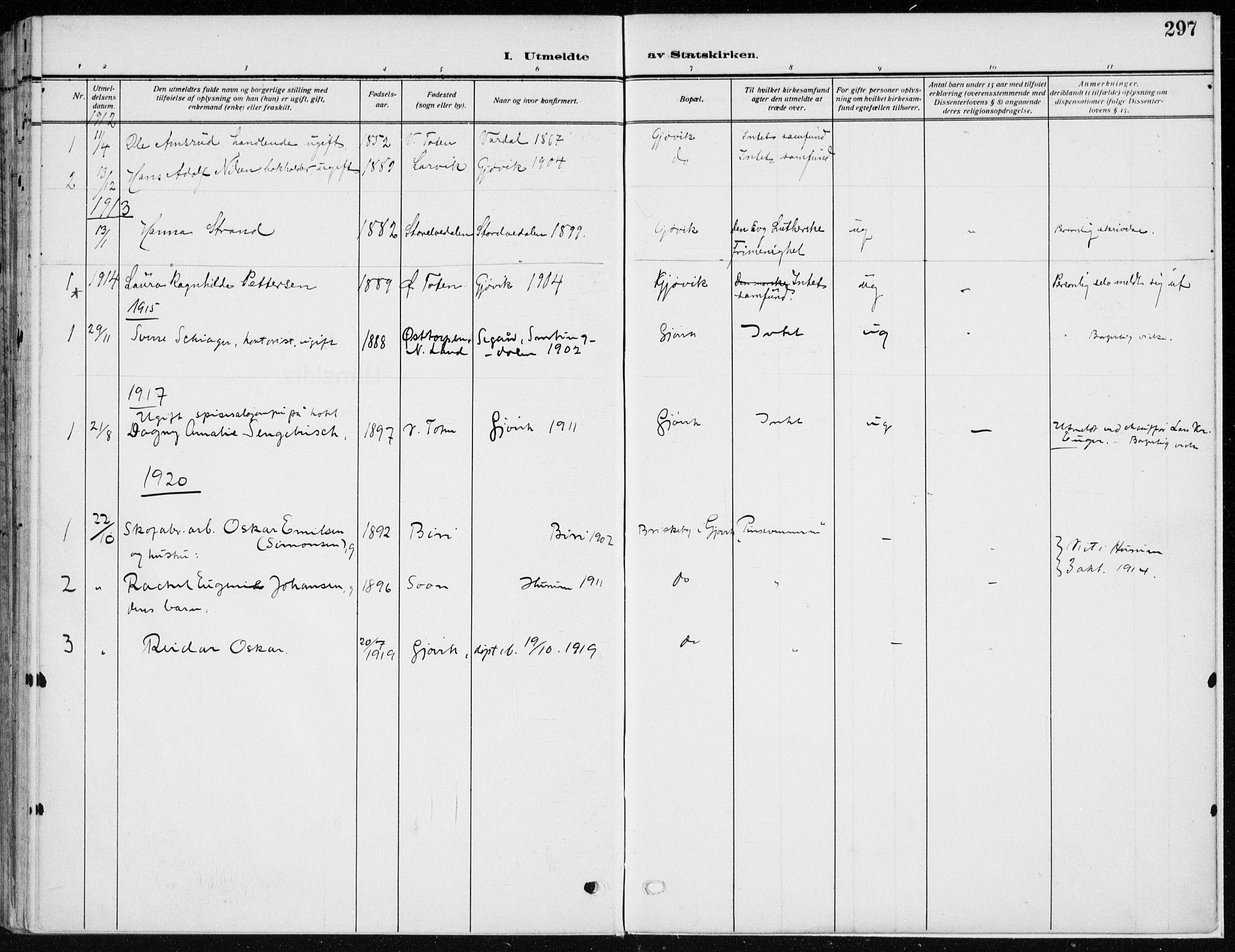 SAH, Vardal prestekontor, H/Ha/Haa/L0014: Ministerialbok nr. 14, 1912-1922, s. 297