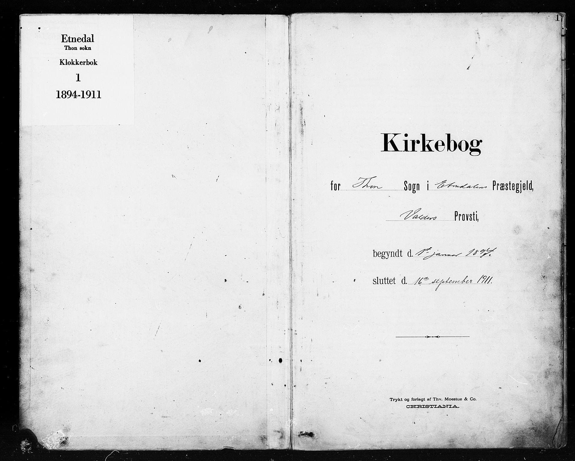 SAH, Etnedal prestekontor, H/Ha/Hab/Habb/L0001: Klokkerbok nr. II 1, 1894-1911, s. 0-1