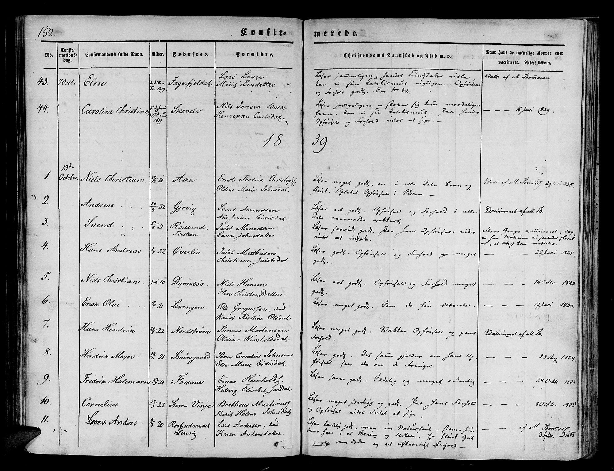 SATØ, Tranøy sokneprestkontor, I/Ia/Iaa/L0005kirke: Ministerialbok nr. 5, 1829-1844, s. 152