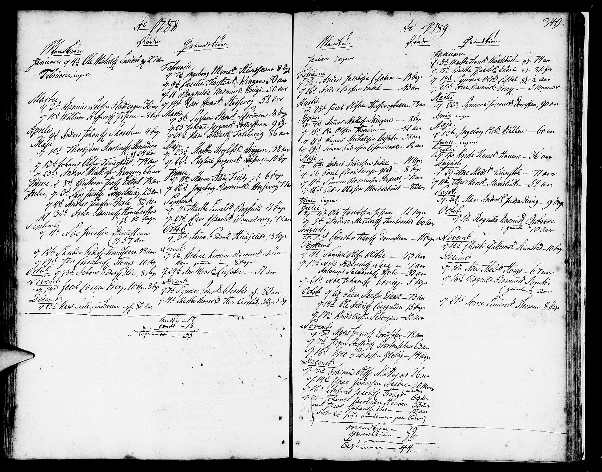 SAB, Davik Sokneprestembete, Ministerialbok nr. A 2, 1742-1816, s. 349