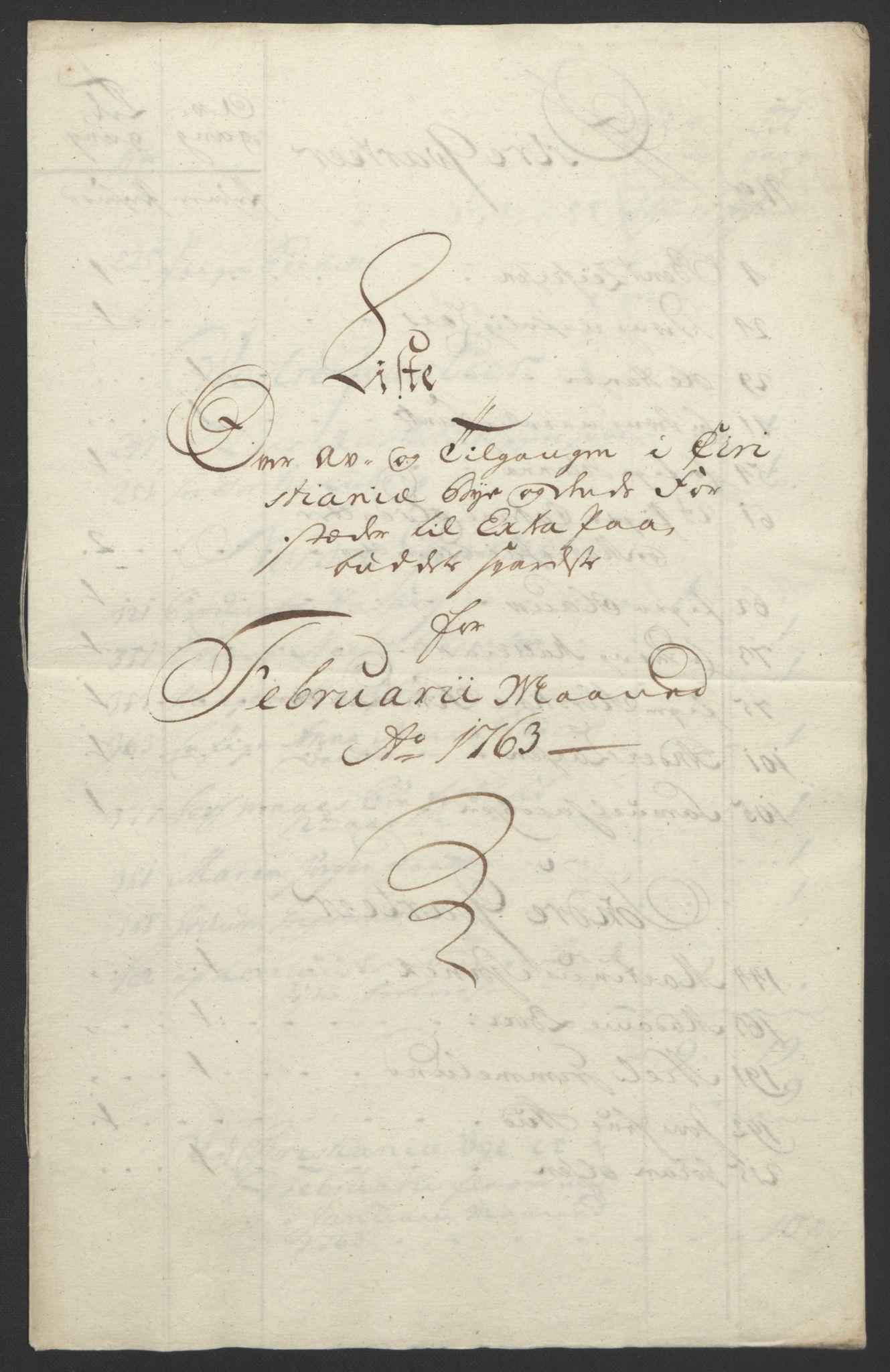 RA, Rentekammeret inntil 1814, Reviderte regnskaper, Byregnskaper, R/Re/L0072: [E13] Kontribusjonsregnskap, 1763-1764, s. 50
