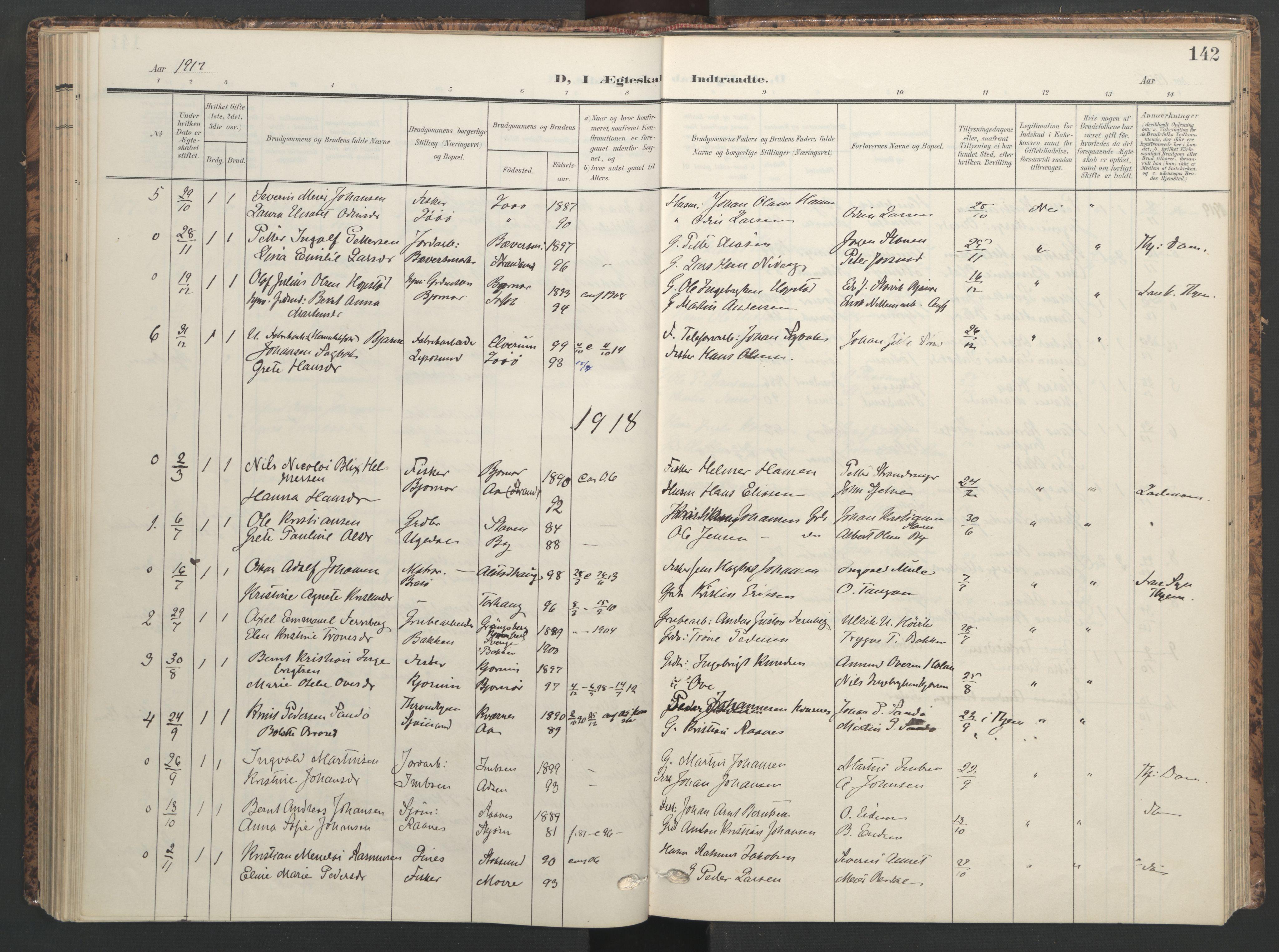 SAT, Ministerialprotokoller, klokkerbøker og fødselsregistre - Sør-Trøndelag, 655/L0682: Ministerialbok nr. 655A11, 1908-1922, s. 142