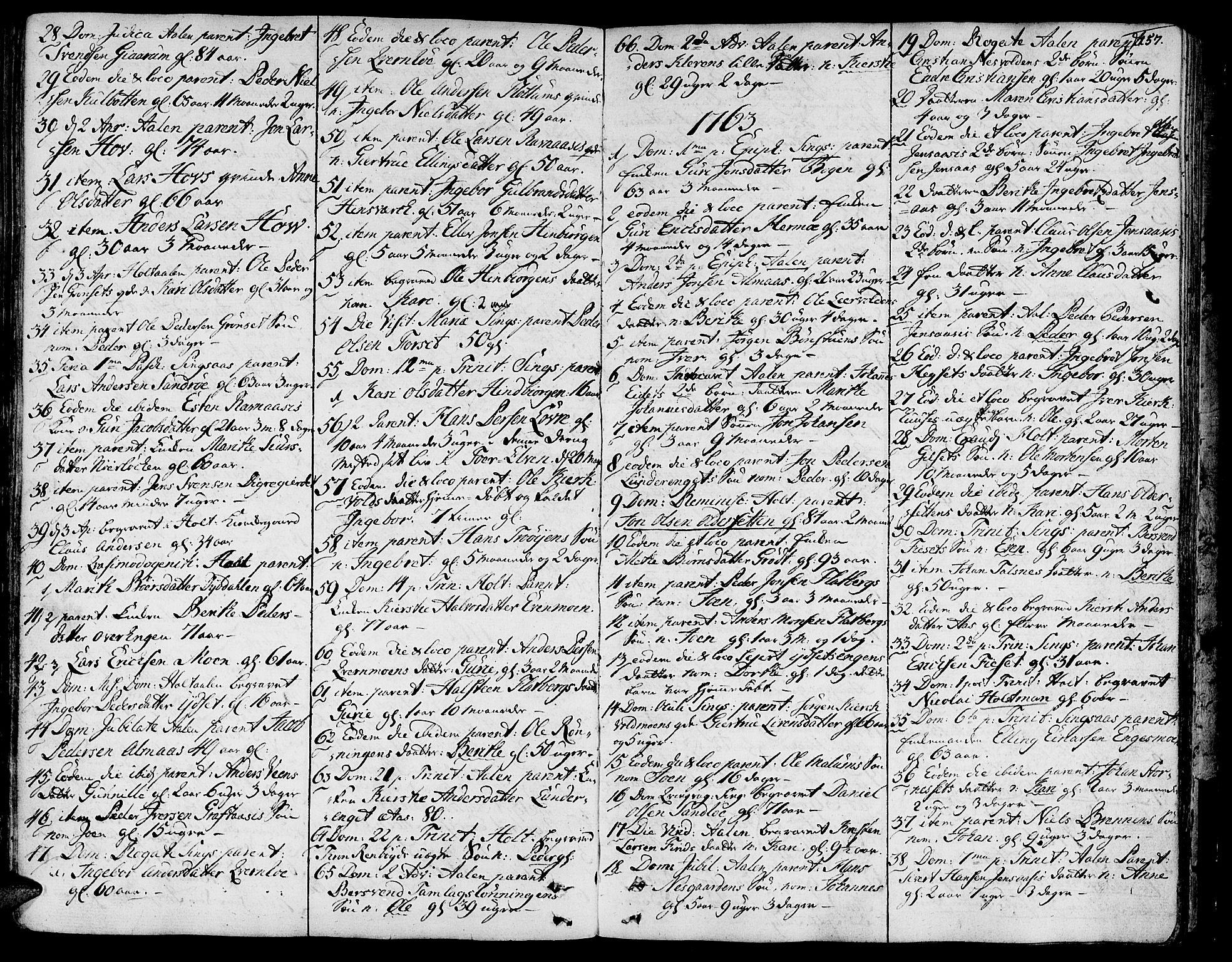 SAT, Ministerialprotokoller, klokkerbøker og fødselsregistre - Sør-Trøndelag, 685/L0952: Ministerialbok nr. 685A01, 1745-1804, s. 157