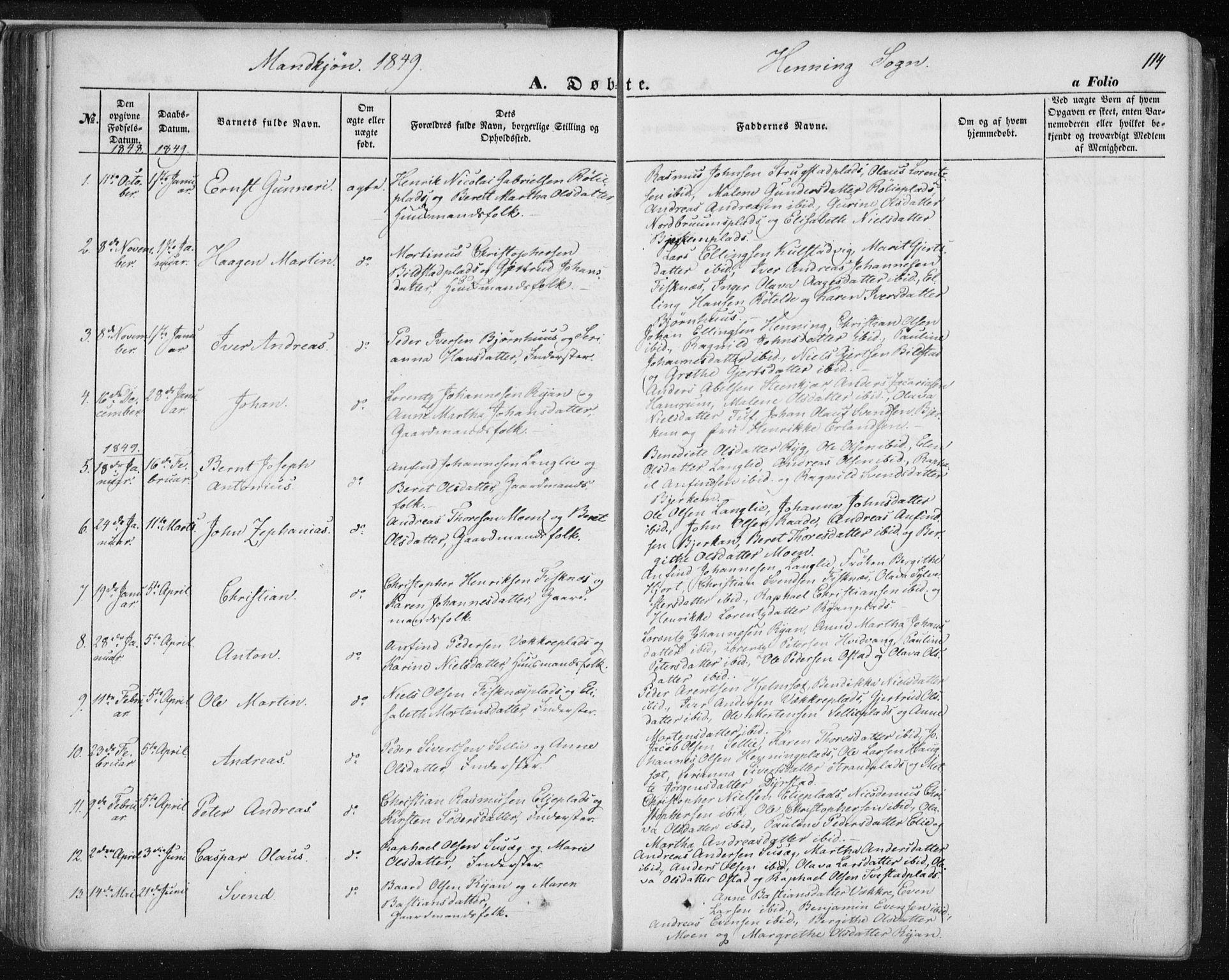 SAT, Ministerialprotokoller, klokkerbøker og fødselsregistre - Nord-Trøndelag, 735/L0342: Ministerialbok nr. 735A07 /3, 1849-1862, s. 114