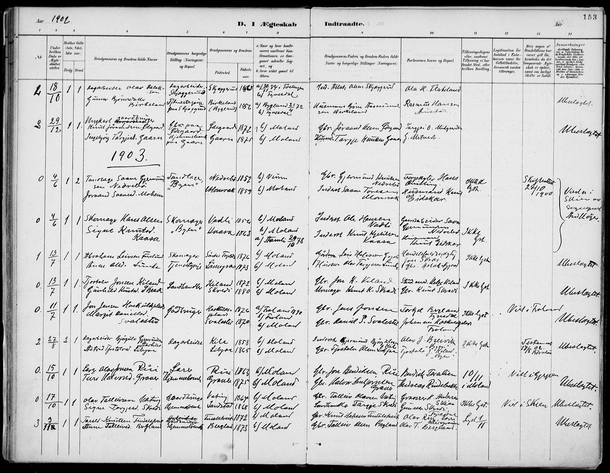 SAKO, Fyresdal kirkebøker, F/Fa/L0007: Ministerialbok nr. I 7, 1887-1914, s. 153