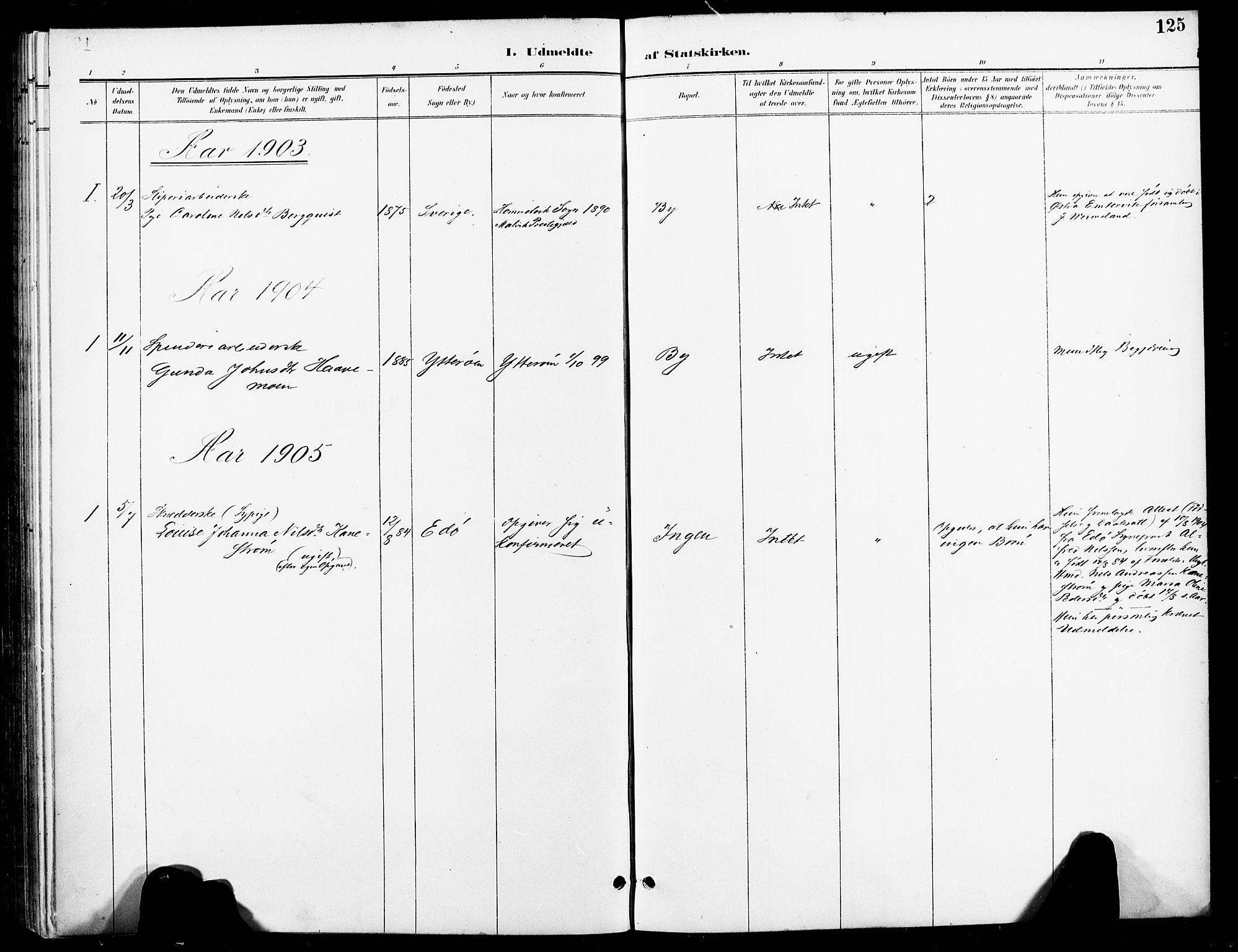 SAT, Ministerialprotokoller, klokkerbøker og fødselsregistre - Nord-Trøndelag, 740/L0379: Ministerialbok nr. 740A02, 1895-1907, s. 125