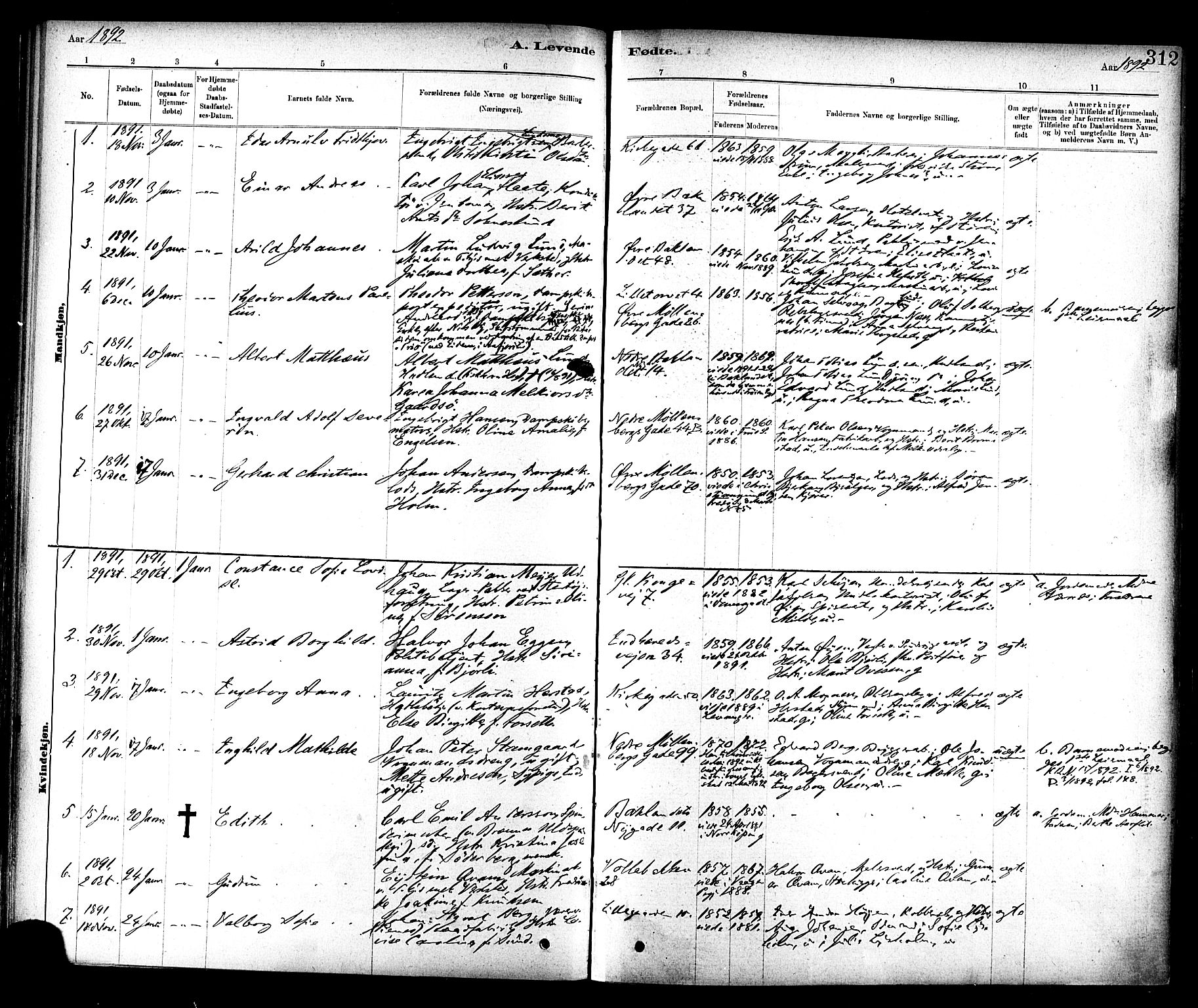 SAT, Ministerialprotokoller, klokkerbøker og fødselsregistre - Sør-Trøndelag, 604/L0188: Ministerialbok nr. 604A09, 1878-1892, s. 312