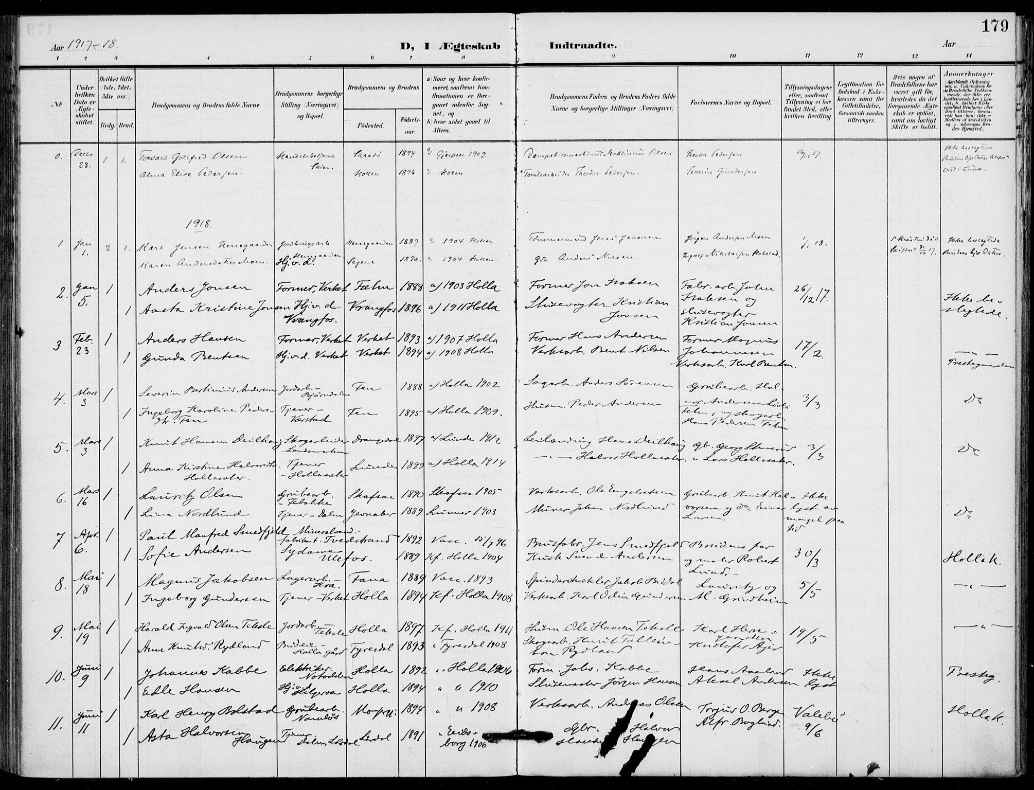 SAKO, Holla kirkebøker, F/Fa/L0012: Ministerialbok nr. 12, 1907-1923, s. 179