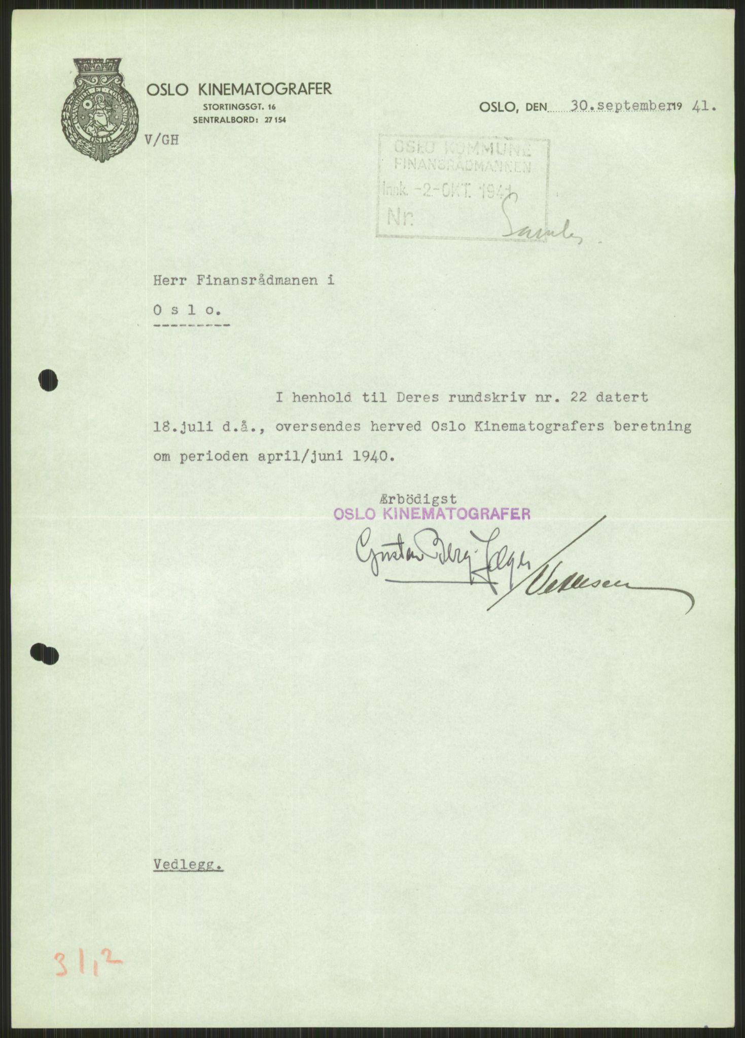 RA, Forsvaret, Forsvarets krigshistoriske avdeling, Y/Ya/L0013: II-C-11-31 - Fylkesmenn.  Rapporter om krigsbegivenhetene 1940., 1940, s. 581