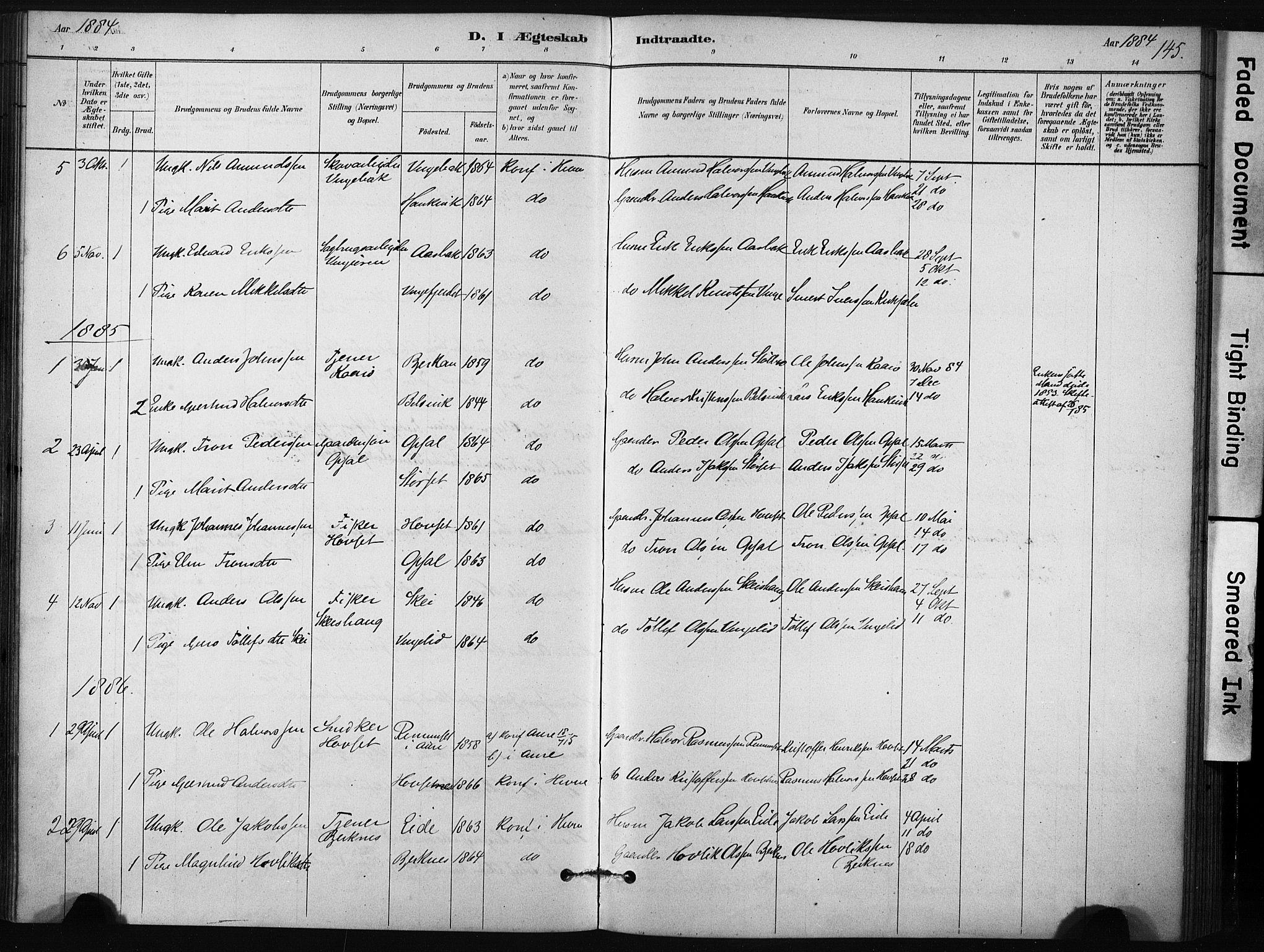 SAT, Ministerialprotokoller, klokkerbøker og fødselsregistre - Sør-Trøndelag, 631/L0512: Ministerialbok nr. 631A01, 1879-1912, s. 145
