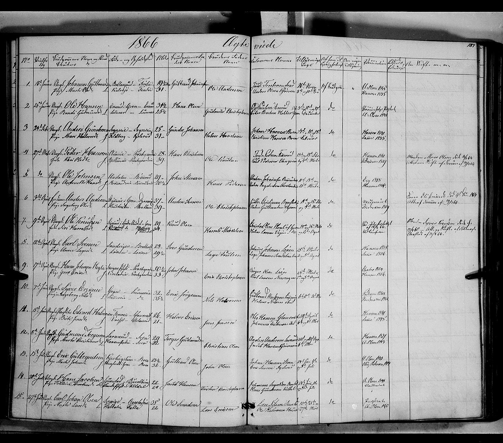 SAH, Jevnaker prestekontor, Ministerialbok nr. 7, 1858-1876, s. 187