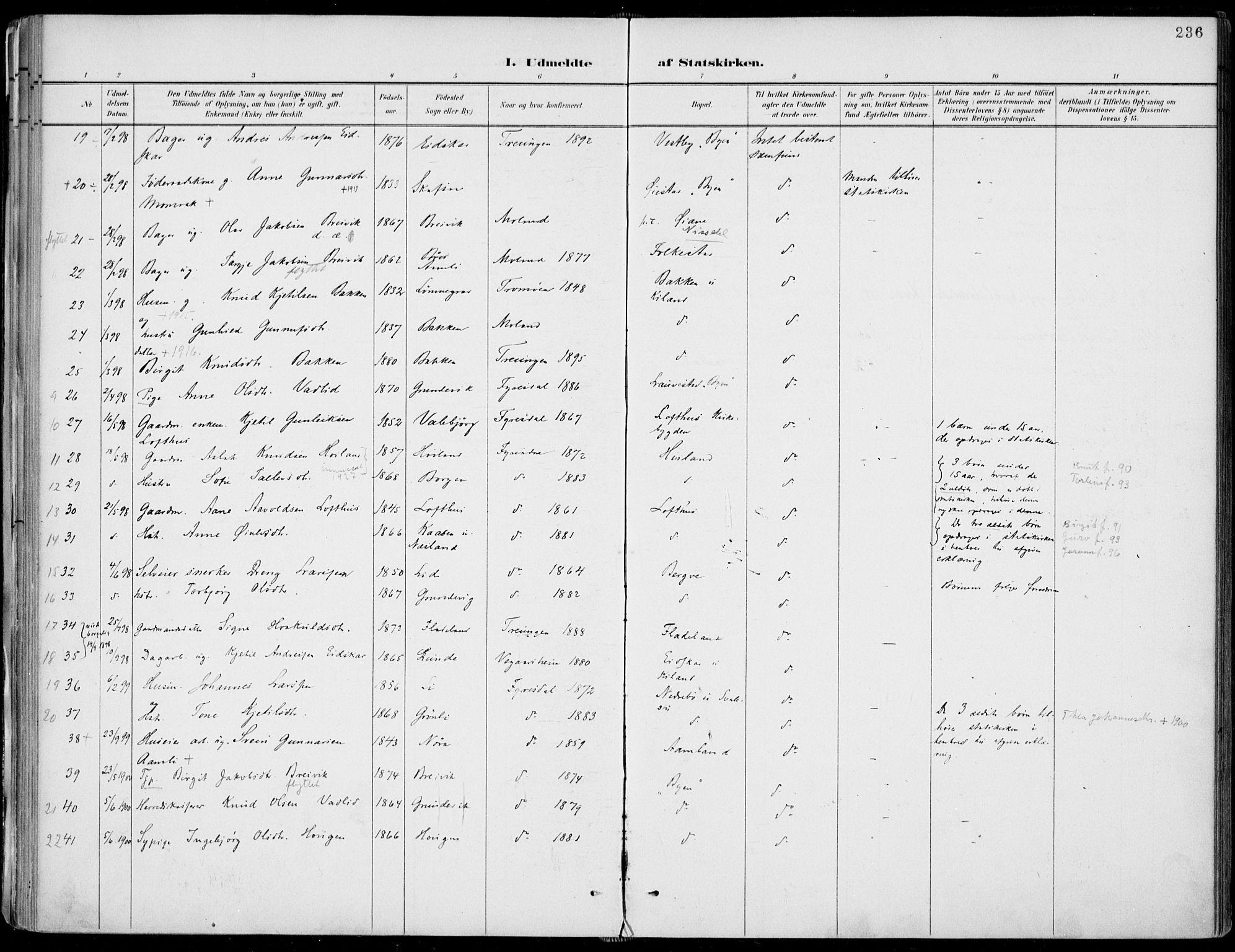 SAKO, Fyresdal kirkebøker, F/Fa/L0007: Ministerialbok nr. I 7, 1887-1914, s. 236