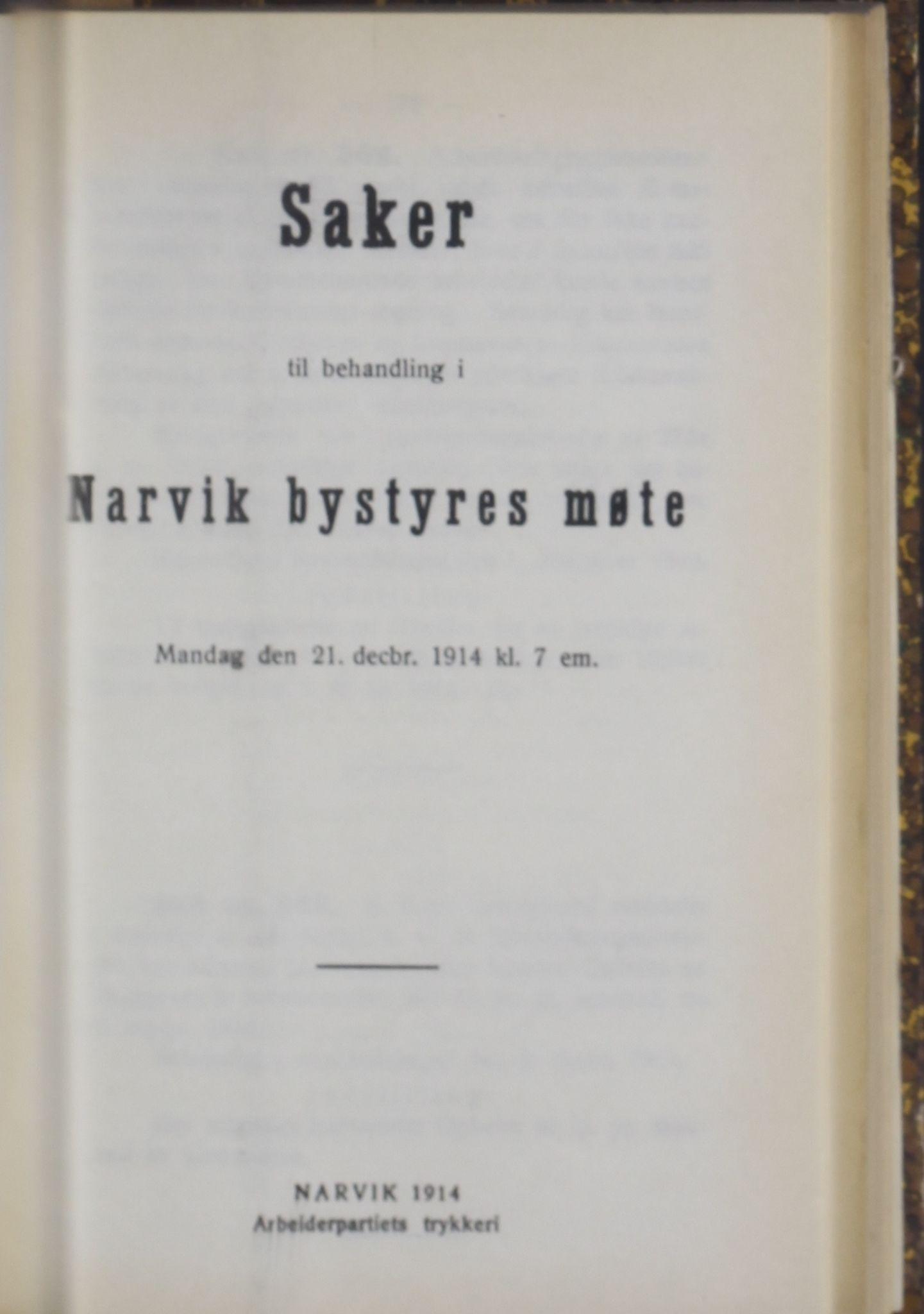 AIN, Narvik kommune. Formannskap , A/Ab/L0004: Møtebok, 1914