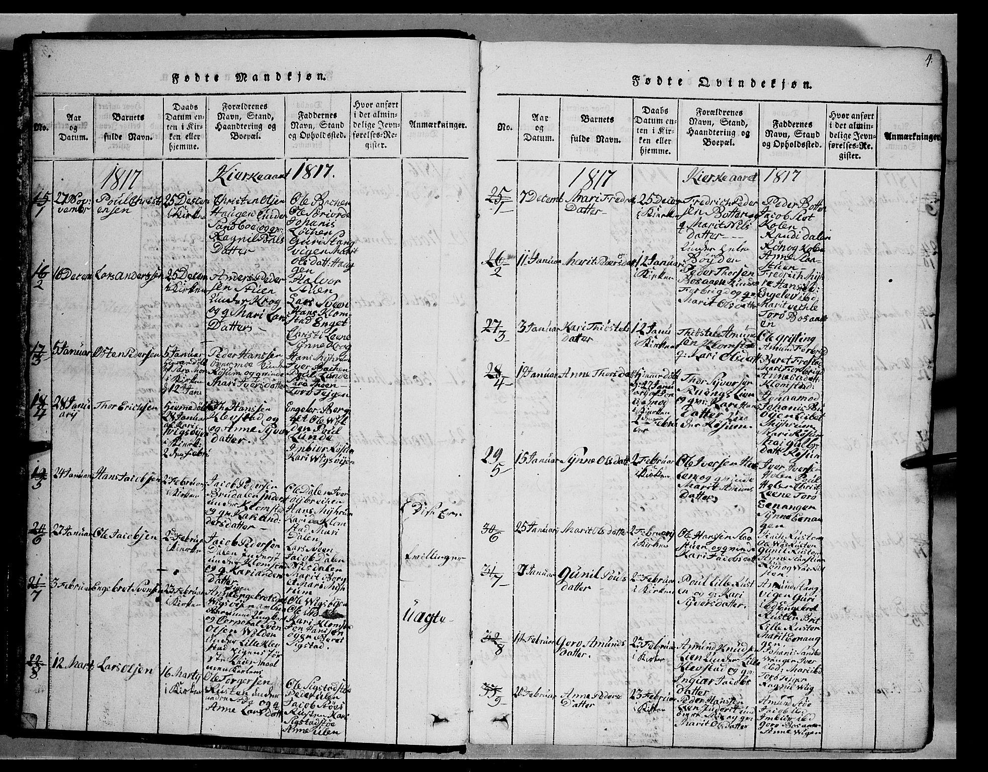 SAH, Fron prestekontor, H/Ha/Hab/L0002: Klokkerbok nr. 2, 1816-1850, s. 4