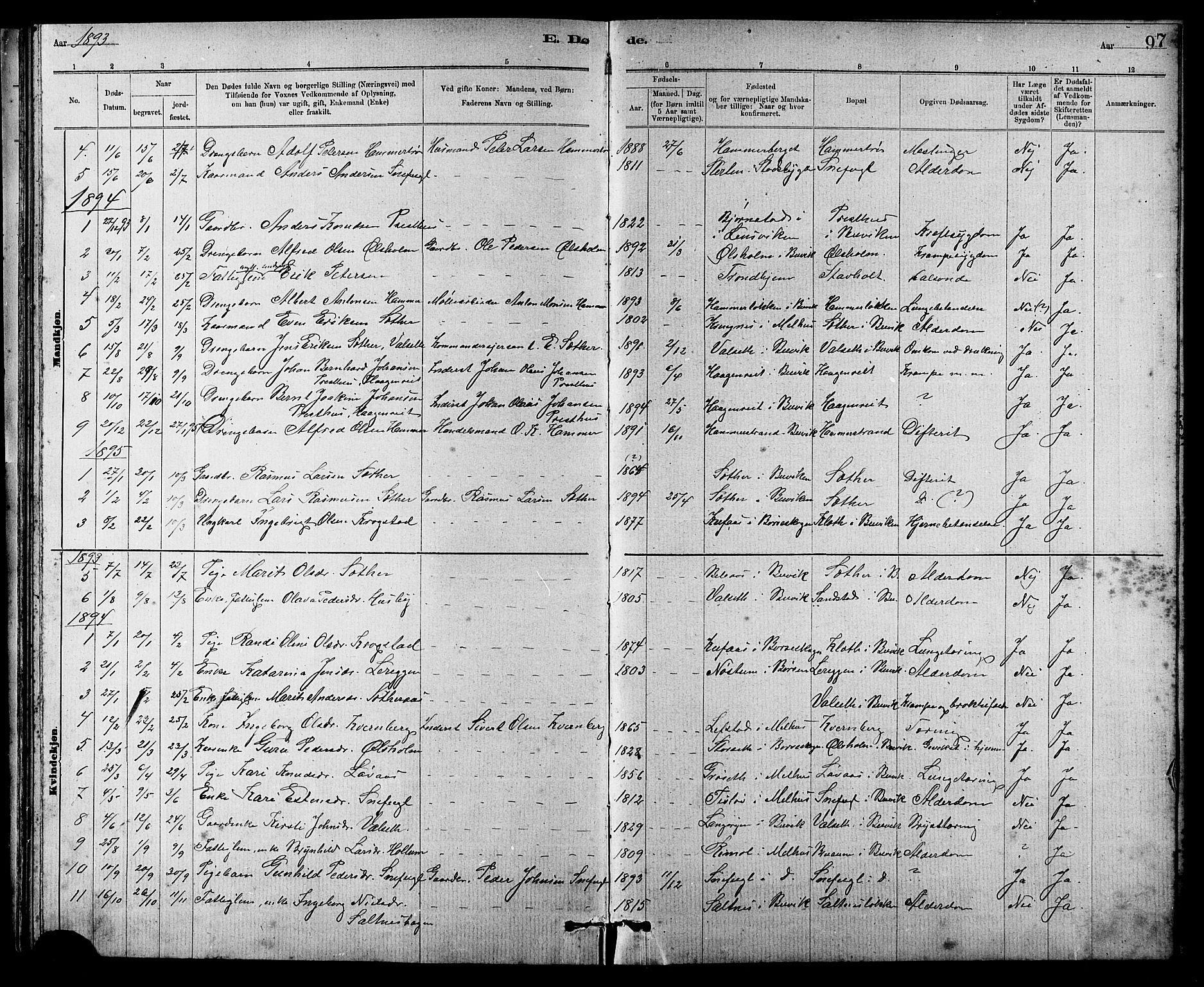SAT, Ministerialprotokoller, klokkerbøker og fødselsregistre - Sør-Trøndelag, 666/L0790: Klokkerbok nr. 666C03, 1885-1908, s. 97