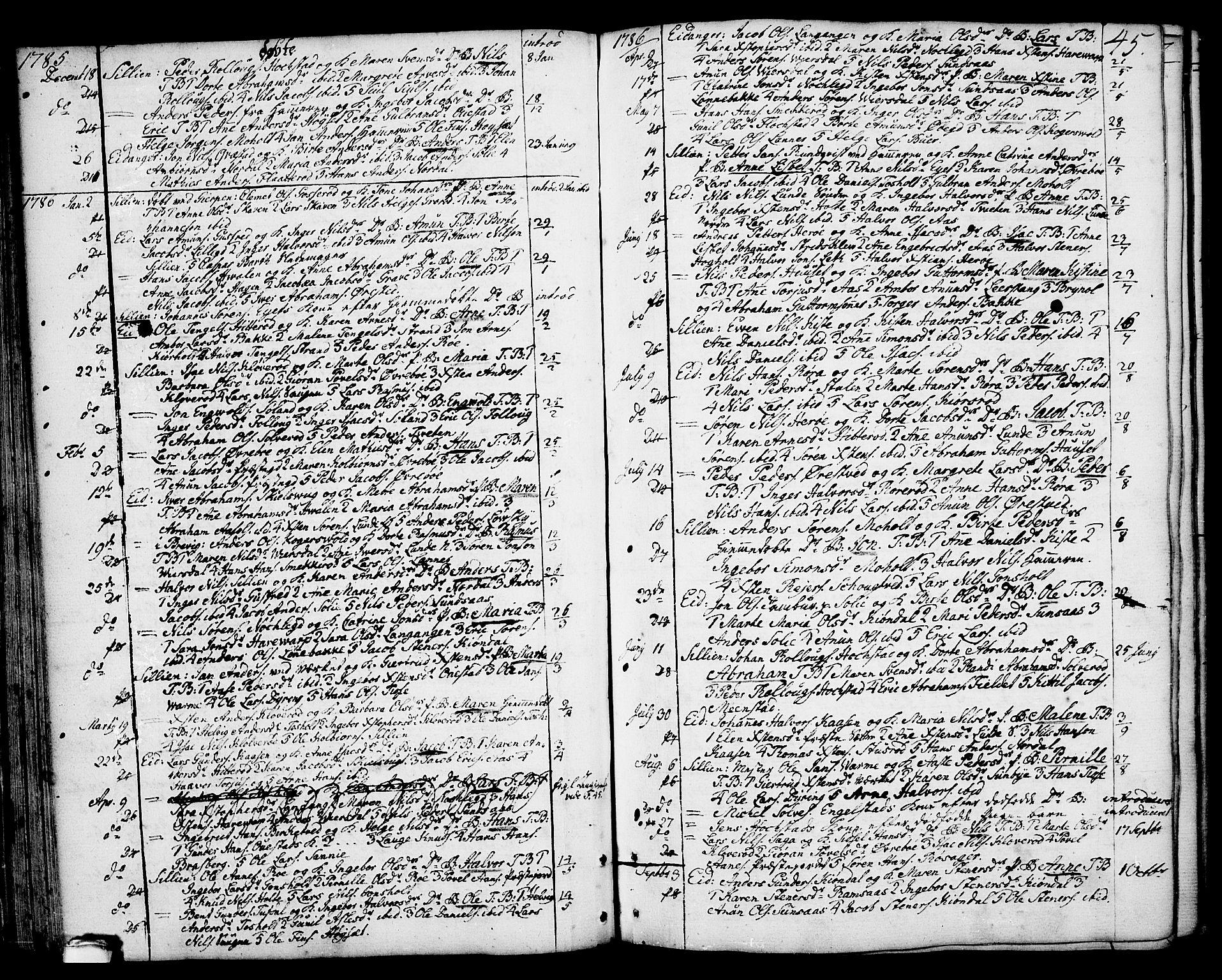 SAKO, Eidanger kirkebøker, F/Fa/L0006: Ministerialbok nr. 6, 1764-1814, s. 45