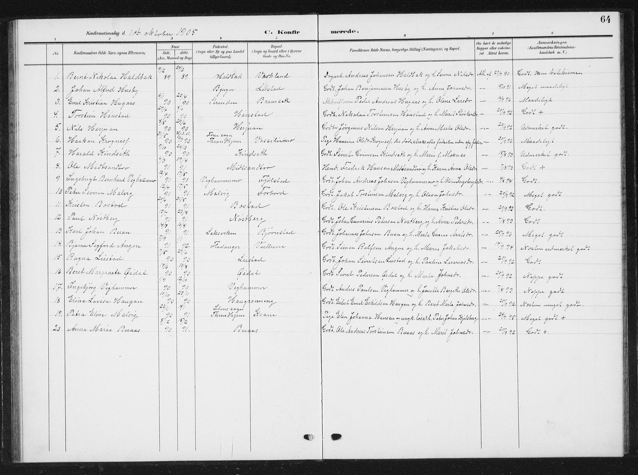 SAT, Ministerialprotokoller, klokkerbøker og fødselsregistre - Sør-Trøndelag, 616/L0424: Klokkerbok nr. 616C07, 1904-1940, s. 64