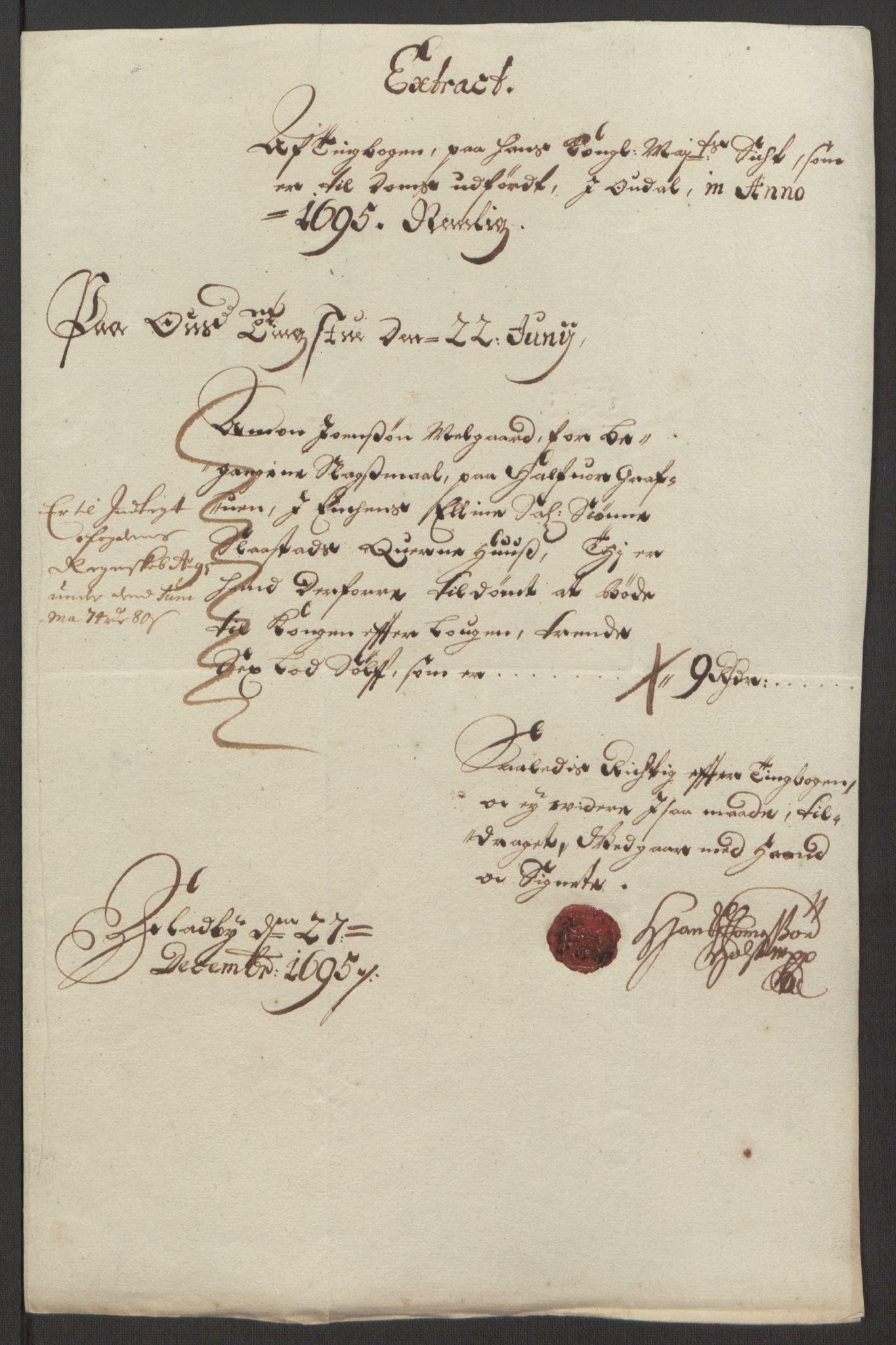 RA, Rentekammeret inntil 1814, Reviderte regnskaper, Fogderegnskap, R13/L0833: Fogderegnskap Solør, Odal og Østerdal, 1695, s. 182