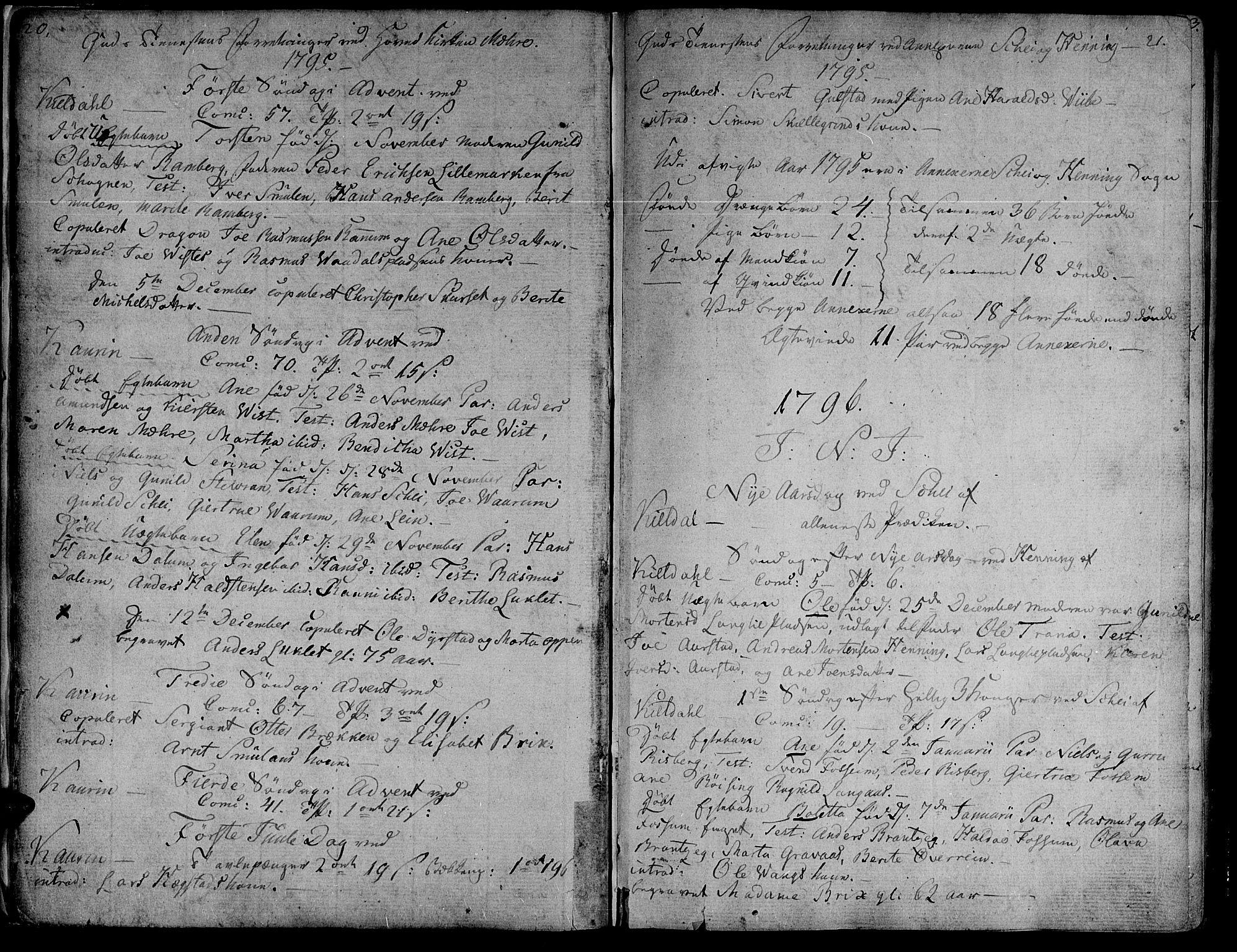 SAT, Ministerialprotokoller, klokkerbøker og fødselsregistre - Nord-Trøndelag, 735/L0332: Ministerialbok nr. 735A03, 1795-1816, s. 20-21