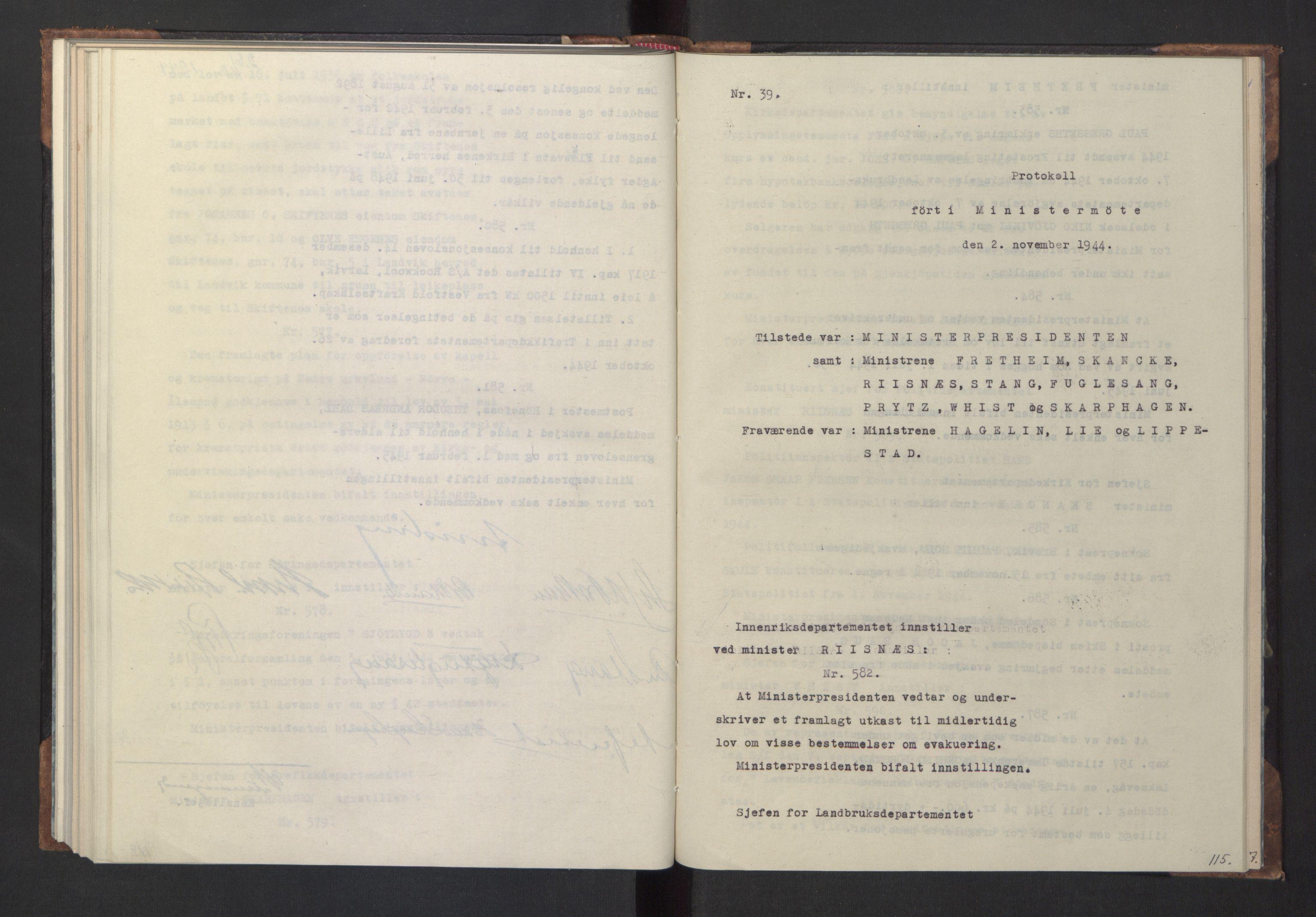 RA, NS-administrasjonen 1940-1945 (Statsrådsekretariatet, de kommisariske statsråder mm), D/Da/L0005: Protokoll fra ministermøter, 1944, s. 114b-115a