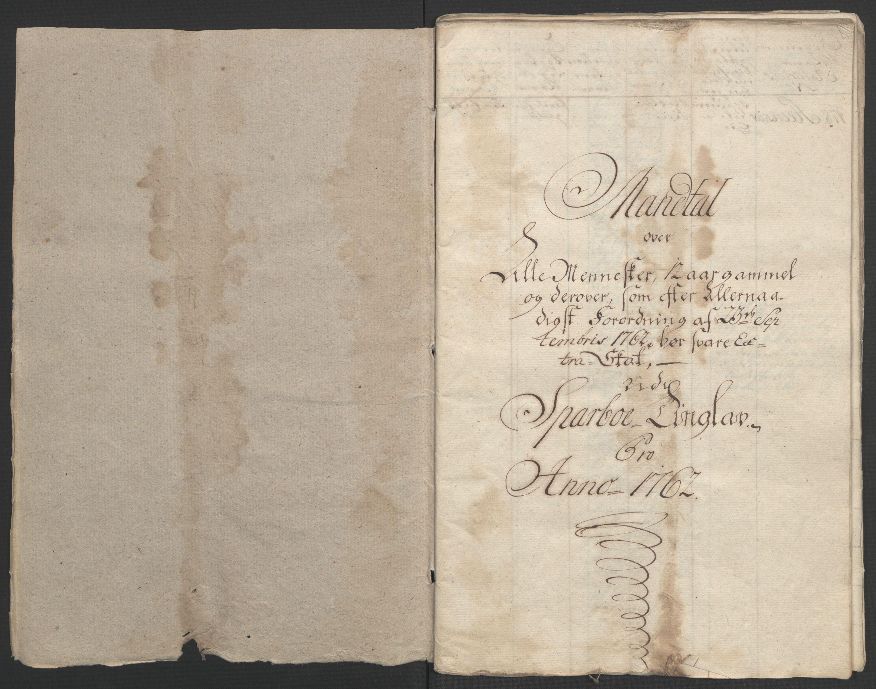 RA, Rentekammeret inntil 1814, Realistisk ordnet avdeling, Ol/L0020: [Gg 10]: Ekstraskatten, 23.09.1762. Romsdal, Strinda, Selbu, Inderøy., 1762-1764, s. 2