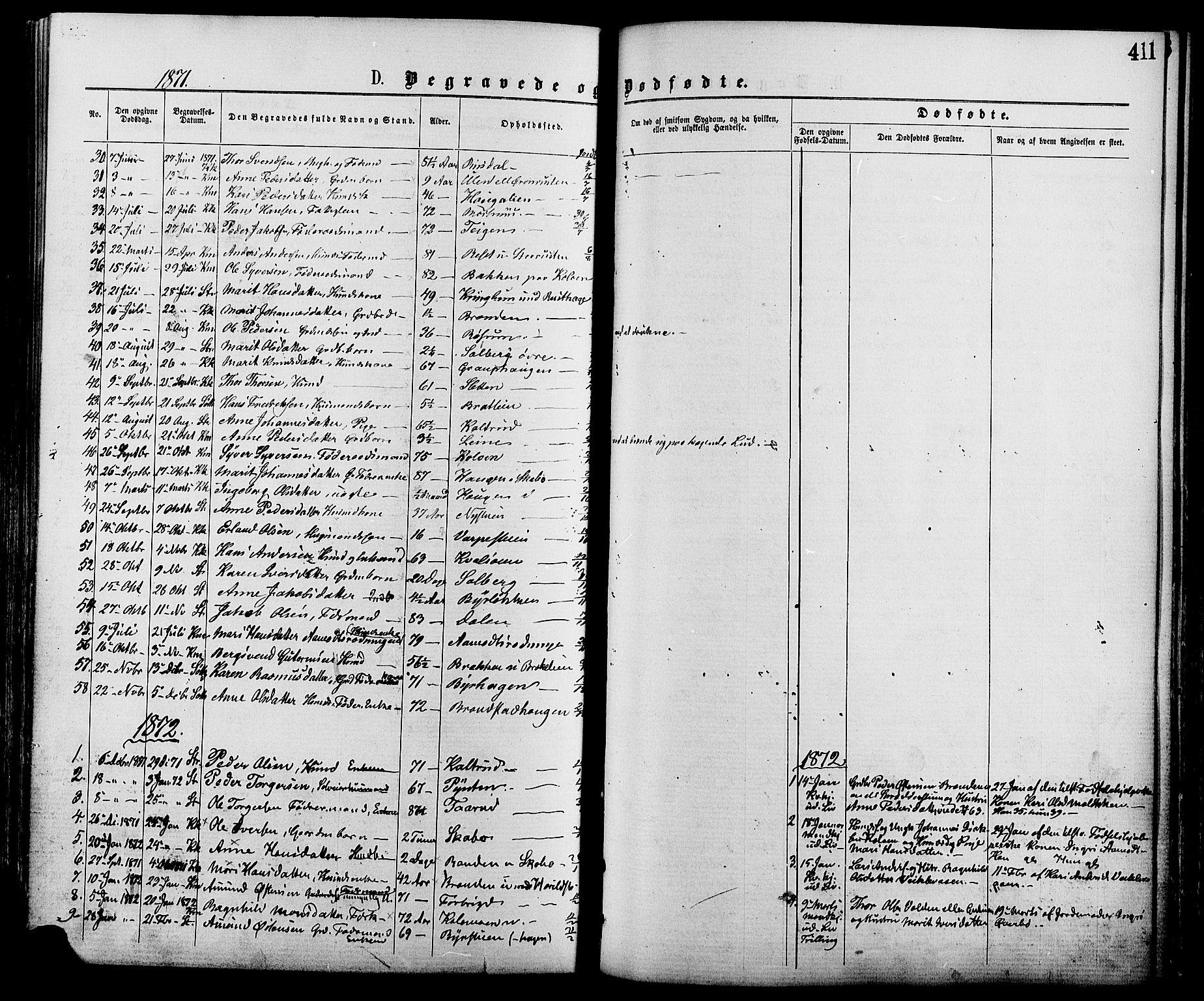 SAH, Nord-Fron prestekontor, Ministerialbok nr. 2, 1865-1883, s. 411