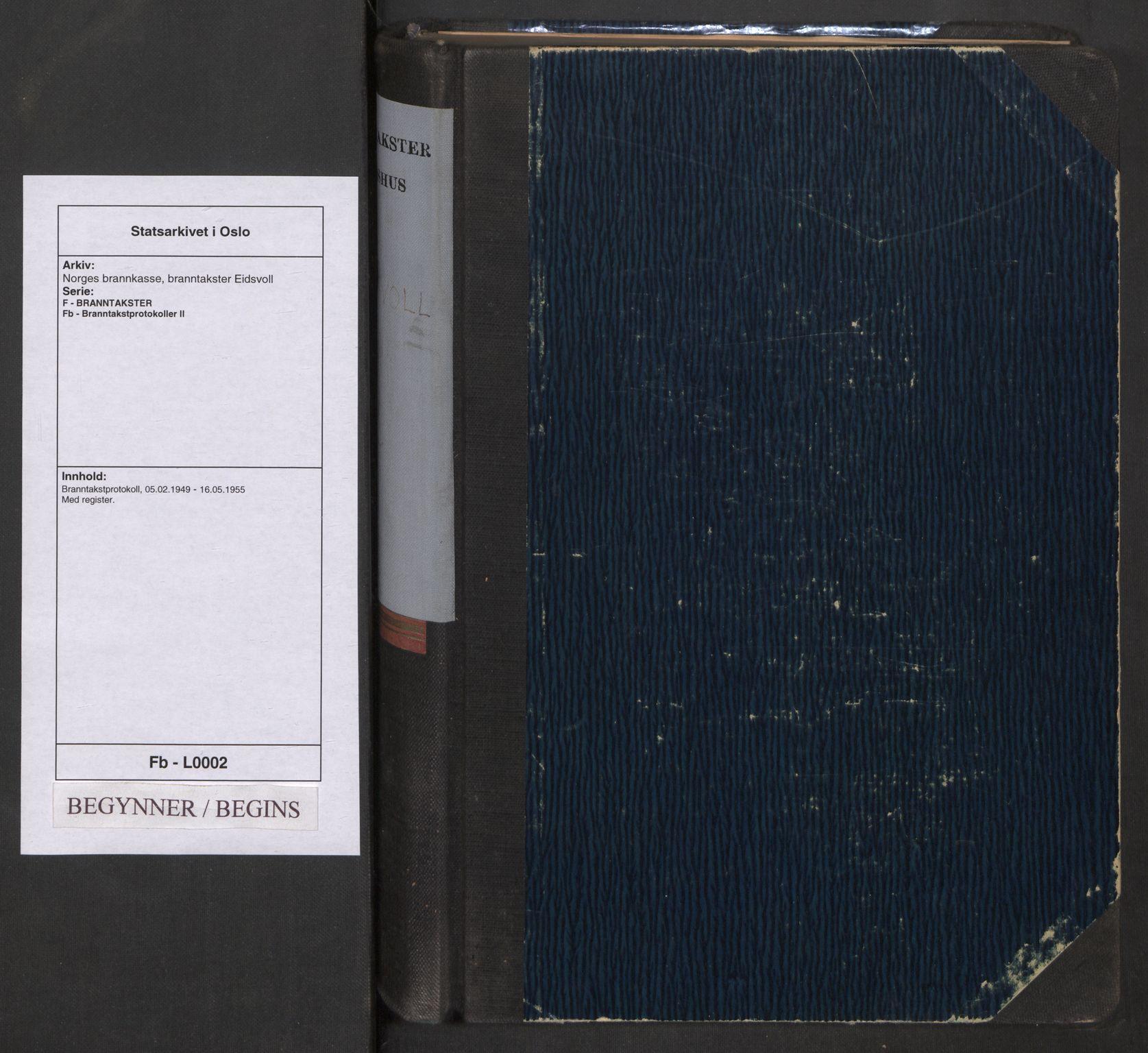 SAO, Norges brannkasse, branntakster Eidsvoll, F/Fb/L0002: Branntakstprotokoll, 1949-1955