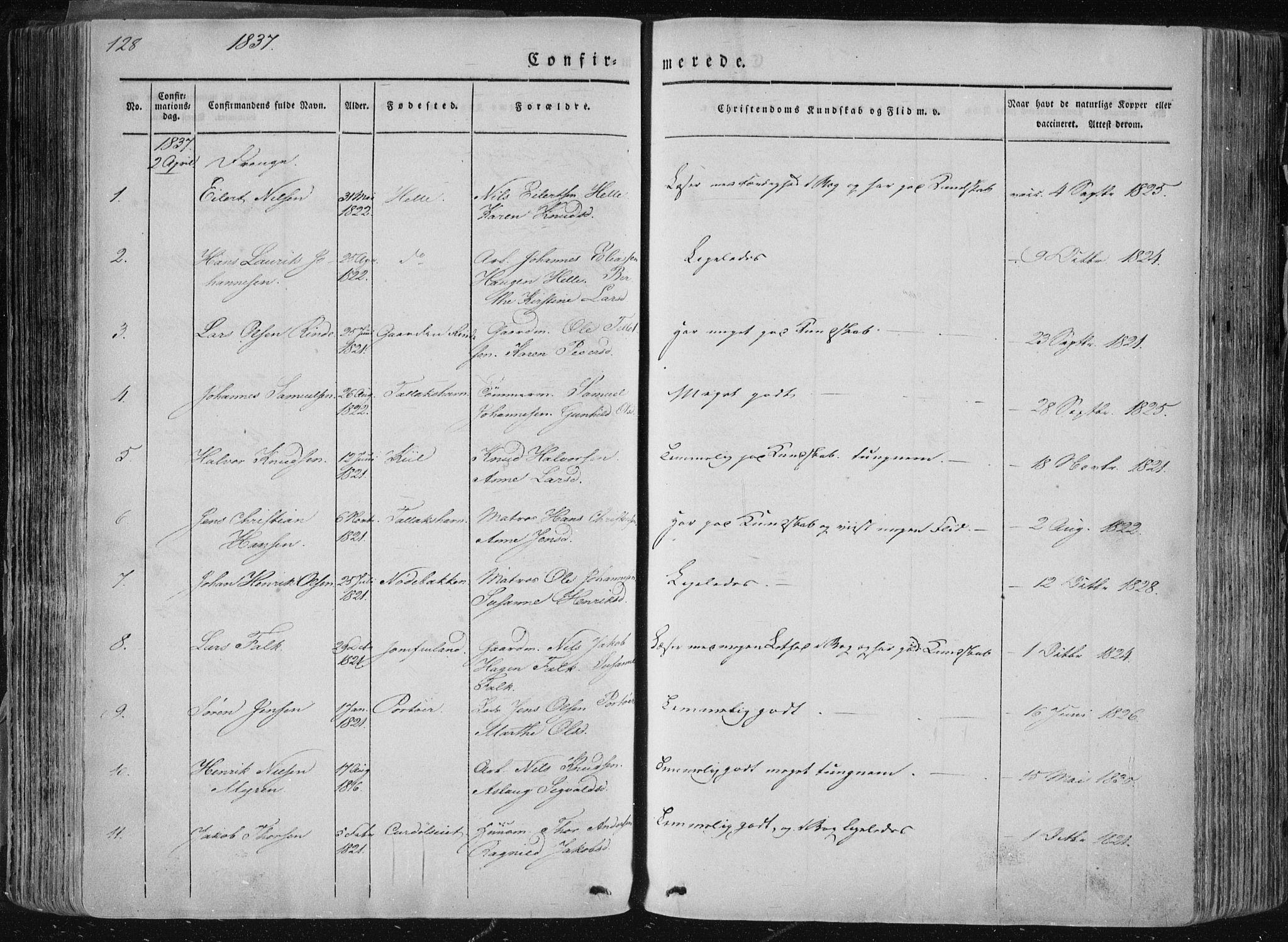 SAKO, Sannidal kirkebøker, F/Fa/L0007: Ministerialbok nr. 7, 1831-1854, s. 128