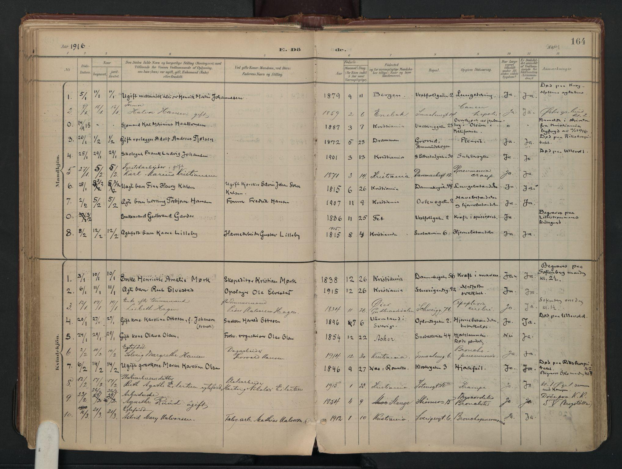 SAO, Vålerengen prestekontor Kirkebøker, F/Fa/L0003: Ministerialbok nr. 3, 1899-1930, s. 164
