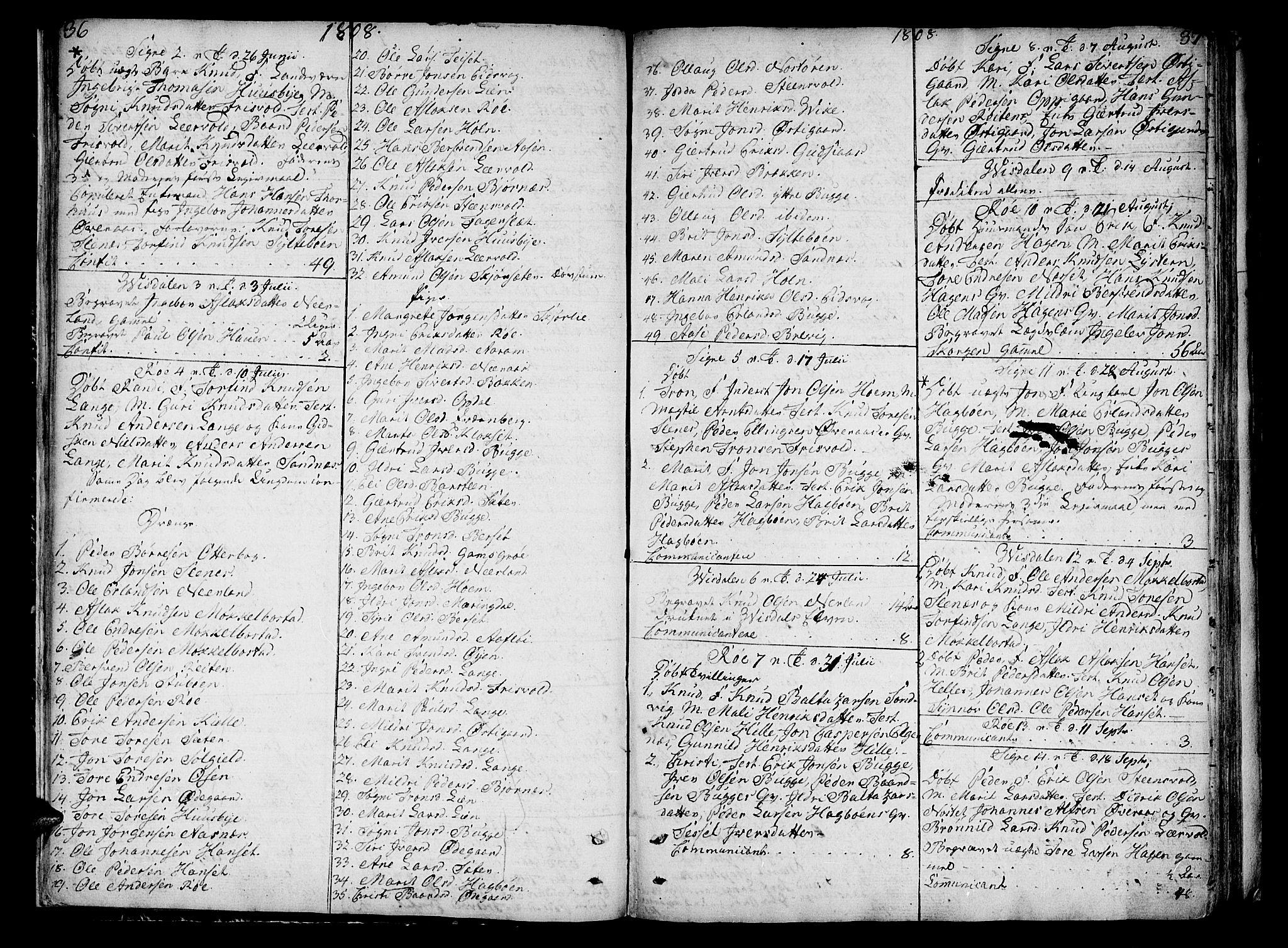 SAT, Ministerialprotokoller, klokkerbøker og fødselsregistre - Møre og Romsdal, 551/L0622: Ministerialbok nr. 551A02, 1804-1845, s. 36-37
