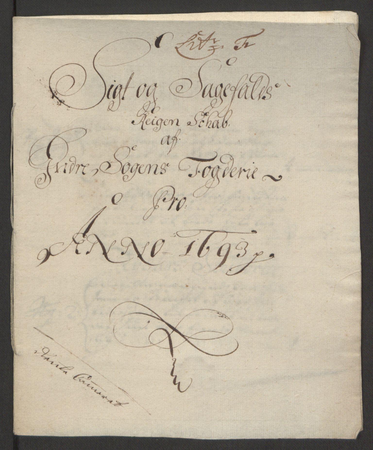 RA, Rentekammeret inntil 1814, Reviderte regnskaper, Fogderegnskap, R52/L3307: Fogderegnskap Sogn, 1693-1694, s. 126