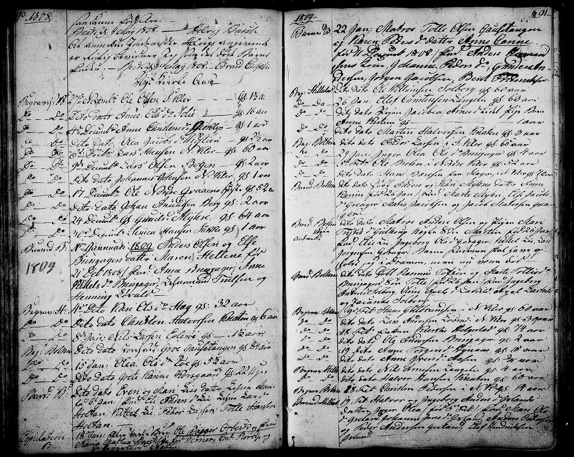 SAKO, Botne kirkebøker, F/Fa/L0003: Ministerialbok nr. I 3 /1, 1792-1844, s. 90-91