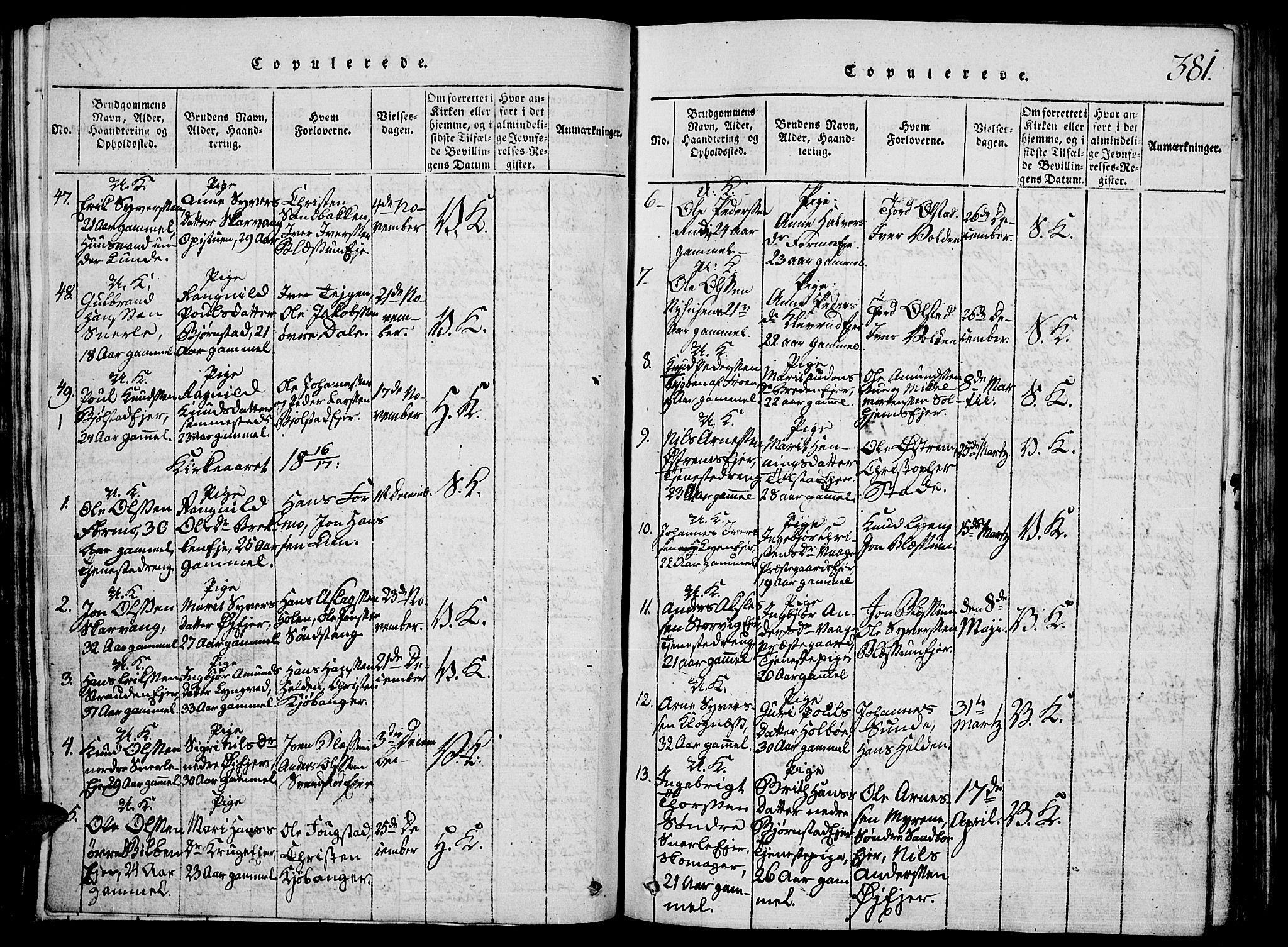 SAH, Vågå prestekontor, Klokkerbok nr. 1, 1815-1827, s. 380-381