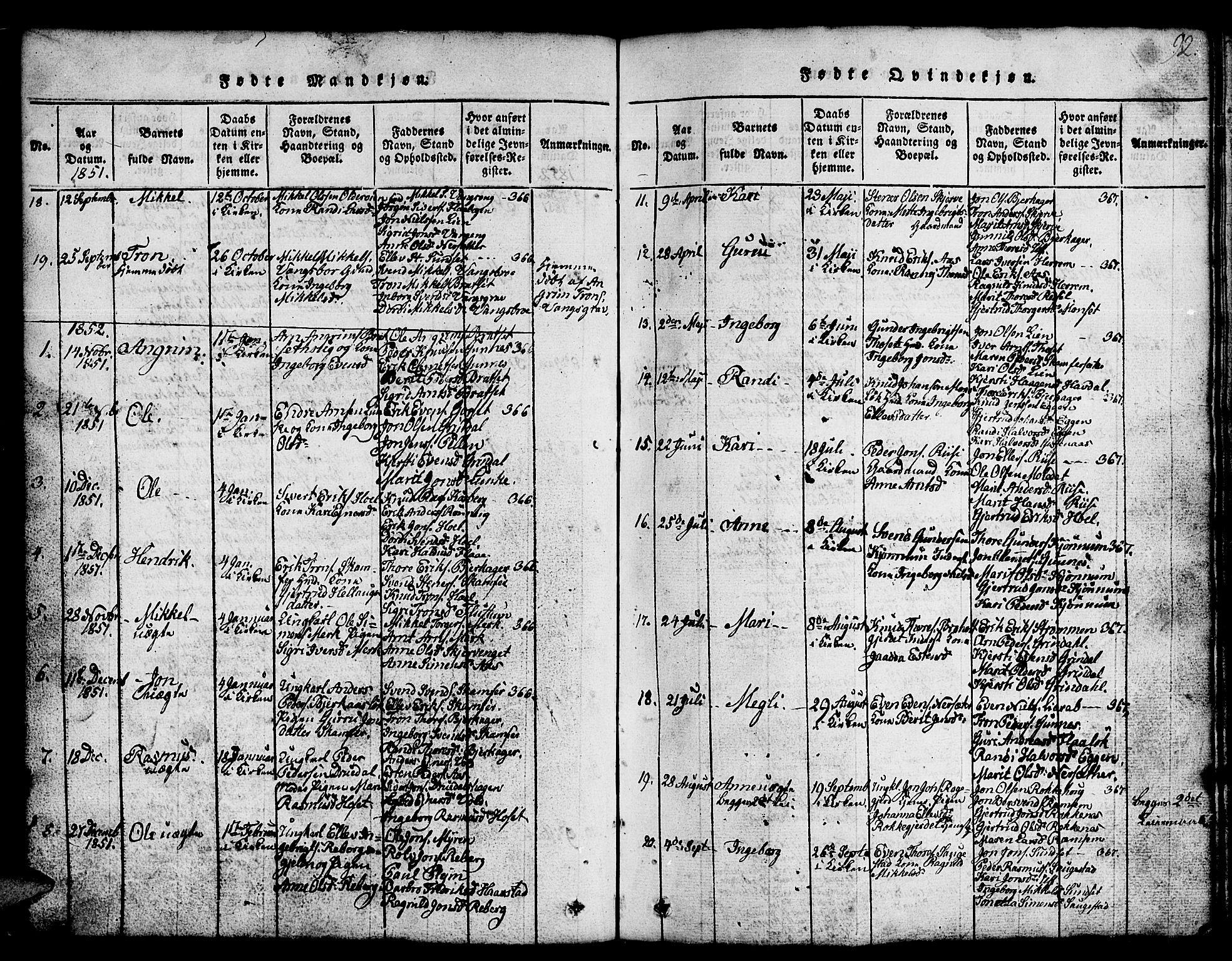 SAT, Ministerialprotokoller, klokkerbøker og fødselsregistre - Sør-Trøndelag, 674/L0874: Klokkerbok nr. 674C01, 1816-1860, s. 92