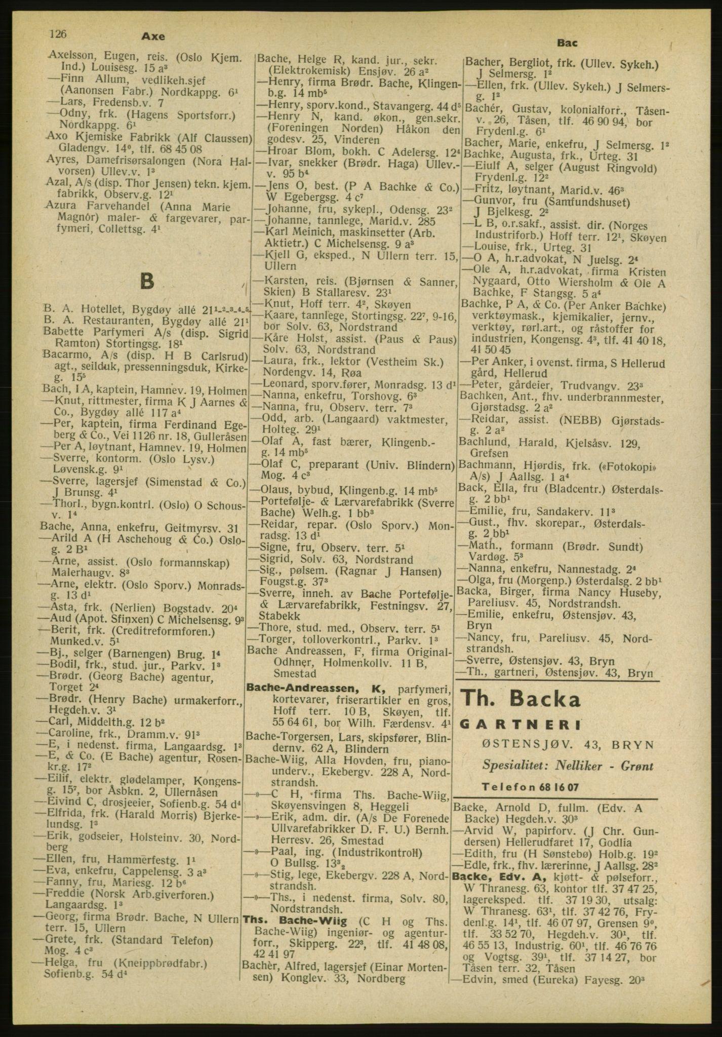 PUBL, Kristiania/Oslo adressebok, 1952, s. 126