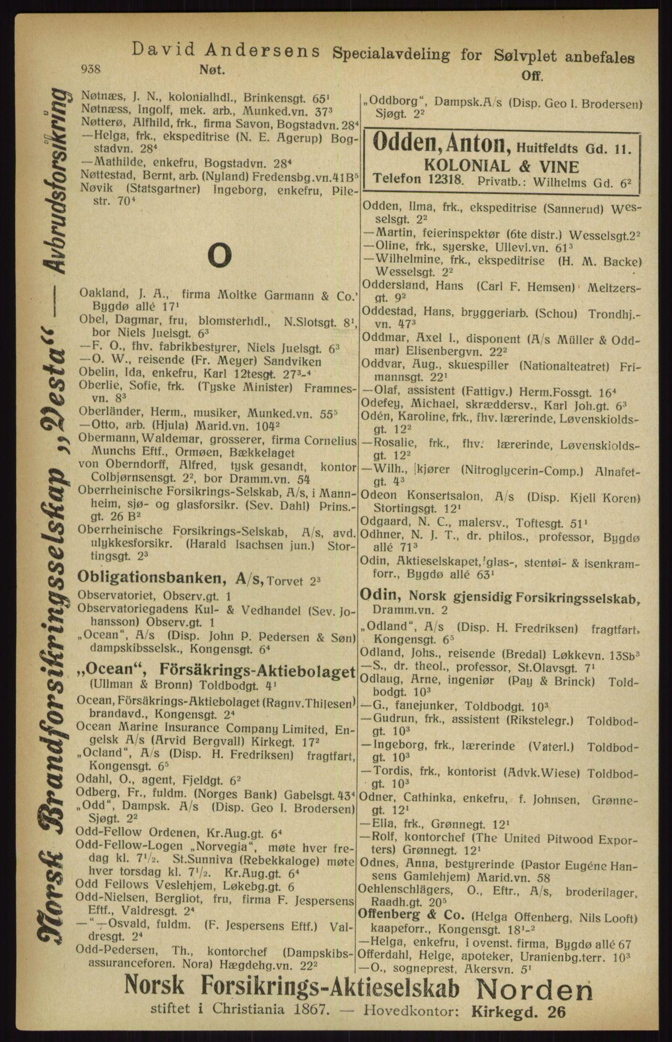 RA, Kristiania adressebok (publikasjon)*, 1916, s. 938