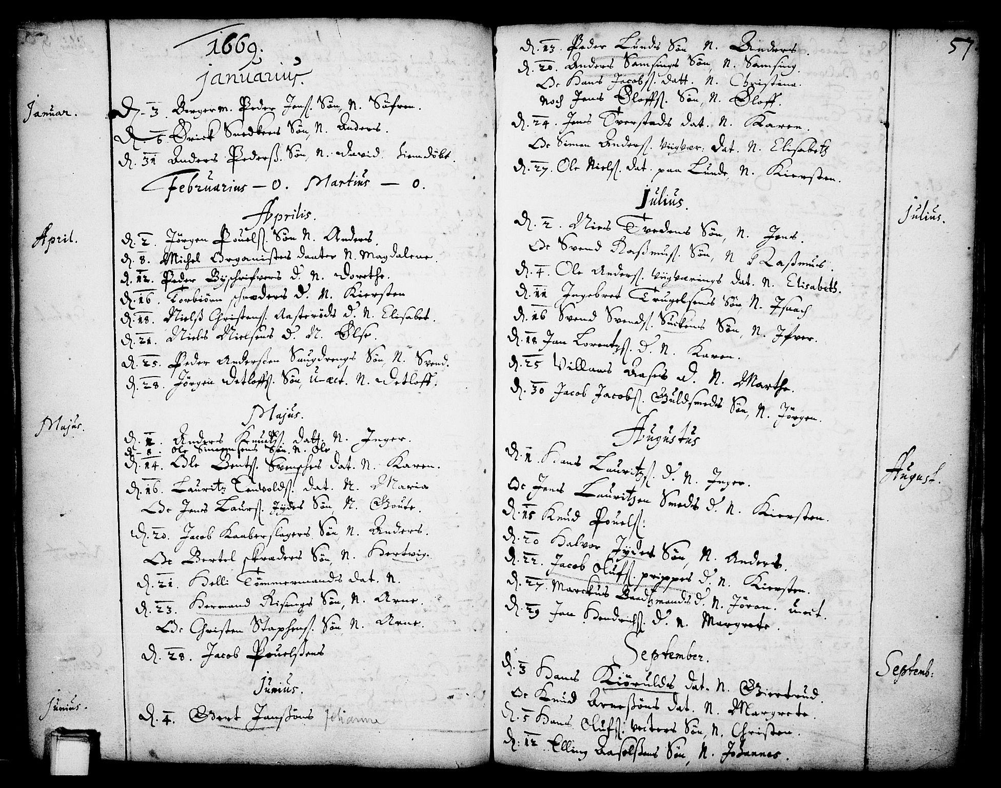 SAKO, Skien kirkebøker, F/Fa/L0001: Ministerialbok nr. 1, 1659-1679, s. 57