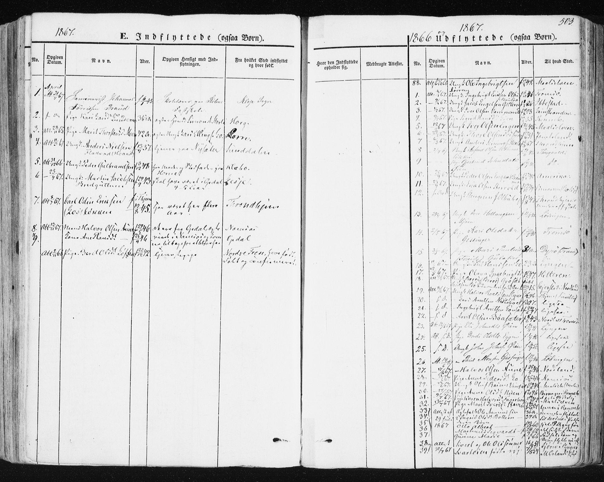 SAT, Ministerialprotokoller, klokkerbøker og fødselsregistre - Sør-Trøndelag, 678/L0899: Ministerialbok nr. 678A08, 1848-1872, s. 503