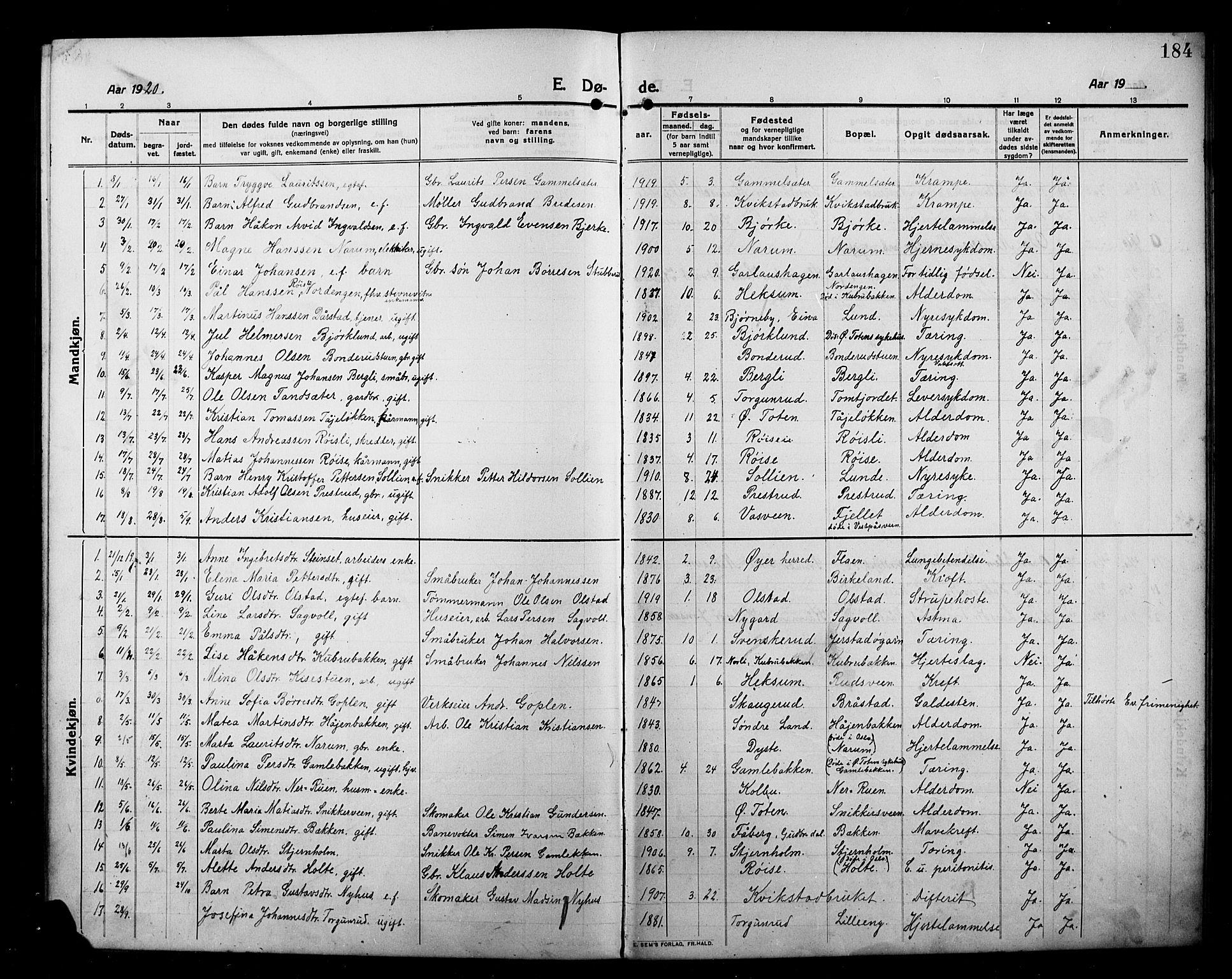 SAH, Kolbu prestekontor, Klokkerbok nr. 1, 1912-1925, s. 184
