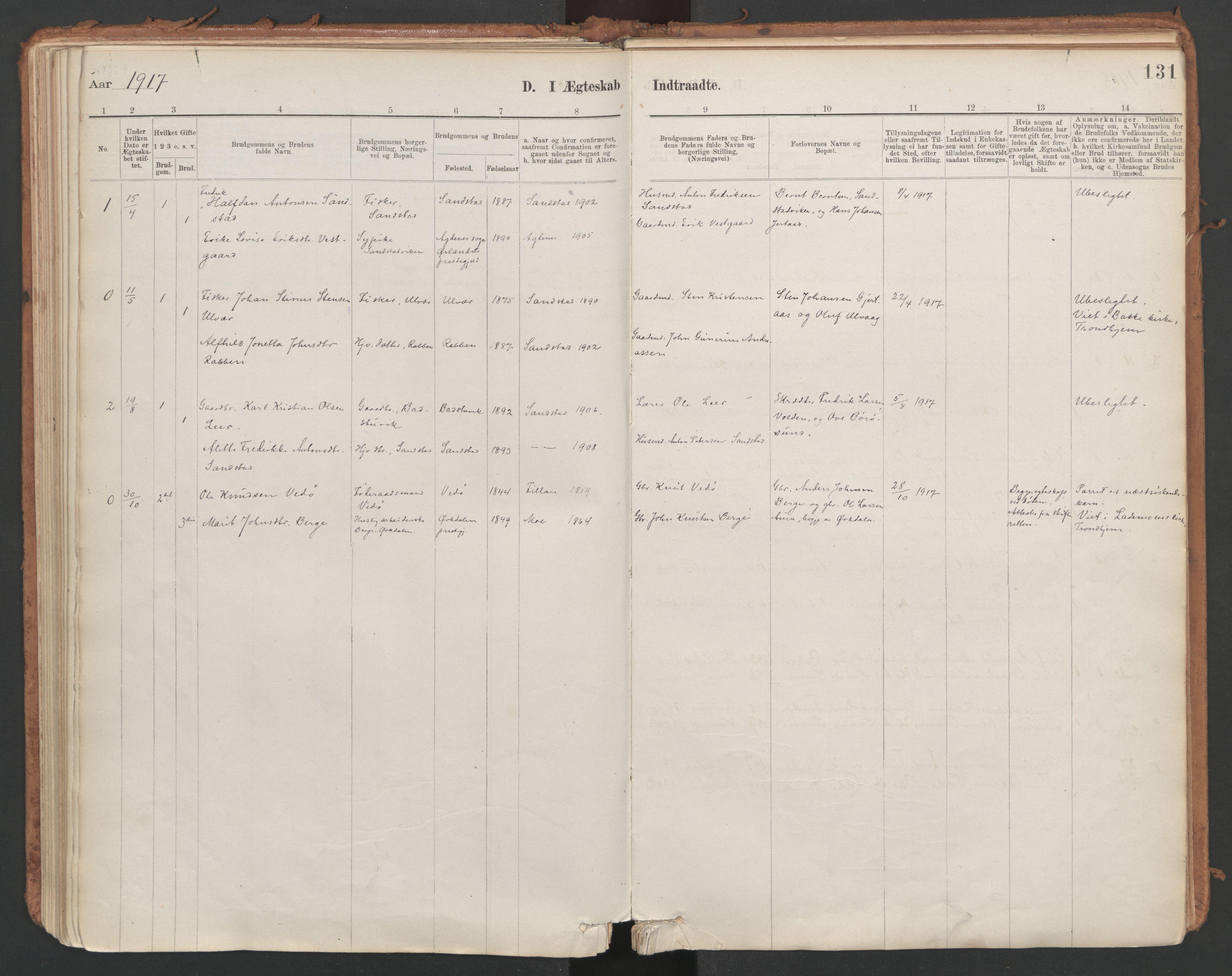 SAT, Ministerialprotokoller, klokkerbøker og fødselsregistre - Sør-Trøndelag, 639/L0572: Ministerialbok nr. 639A01, 1890-1920, s. 131