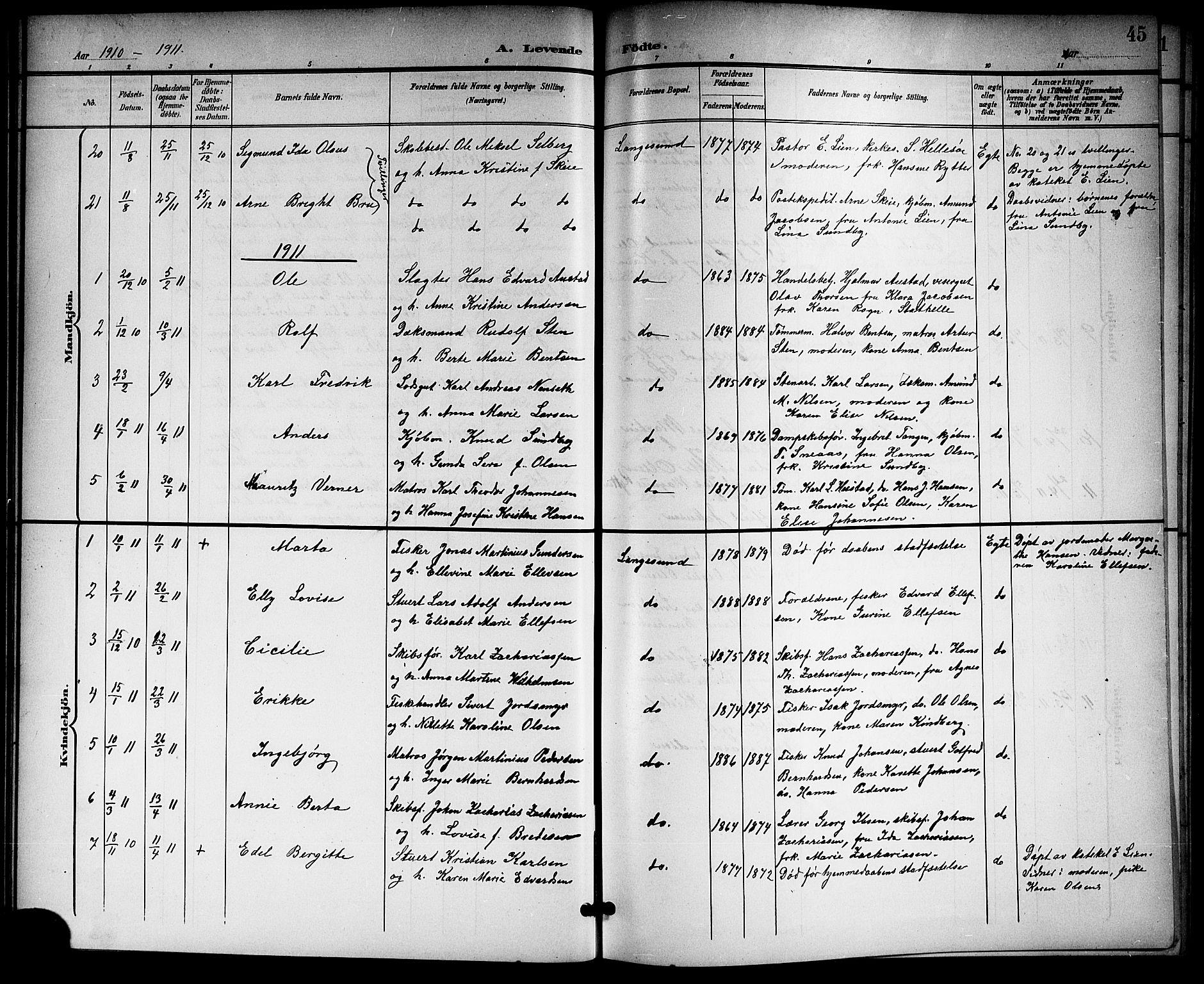 SAKO, Langesund kirkebøker, G/Ga/L0006: Klokkerbok nr. 6, 1899-1918, s. 45