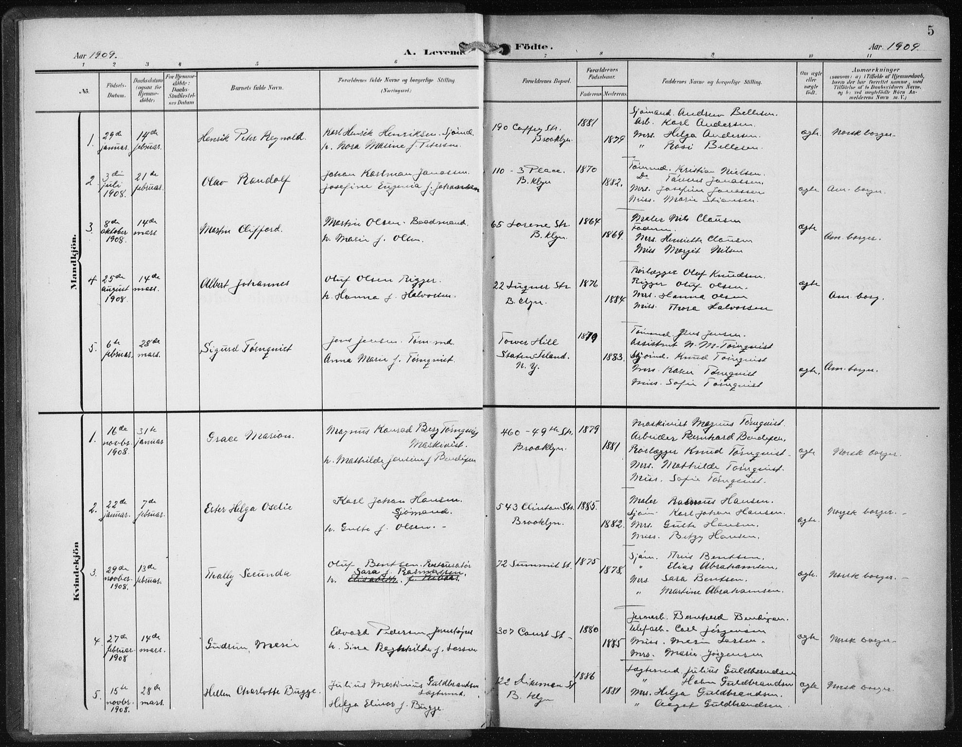 SAB, Den Norske Sjømannsmisjon i utlandet*, Ministerialbok nr. A 6, 1909-1914, s. 5