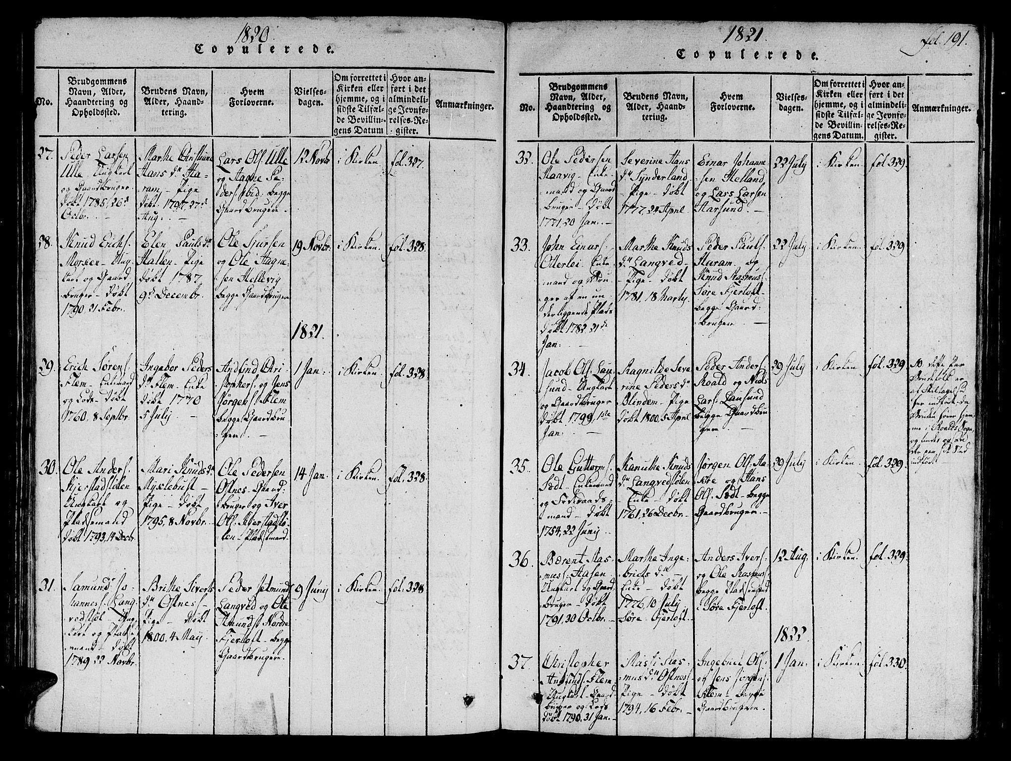 SAT, Ministerialprotokoller, klokkerbøker og fødselsregistre - Møre og Romsdal, 536/L0495: Ministerialbok nr. 536A04, 1818-1847, s. 191